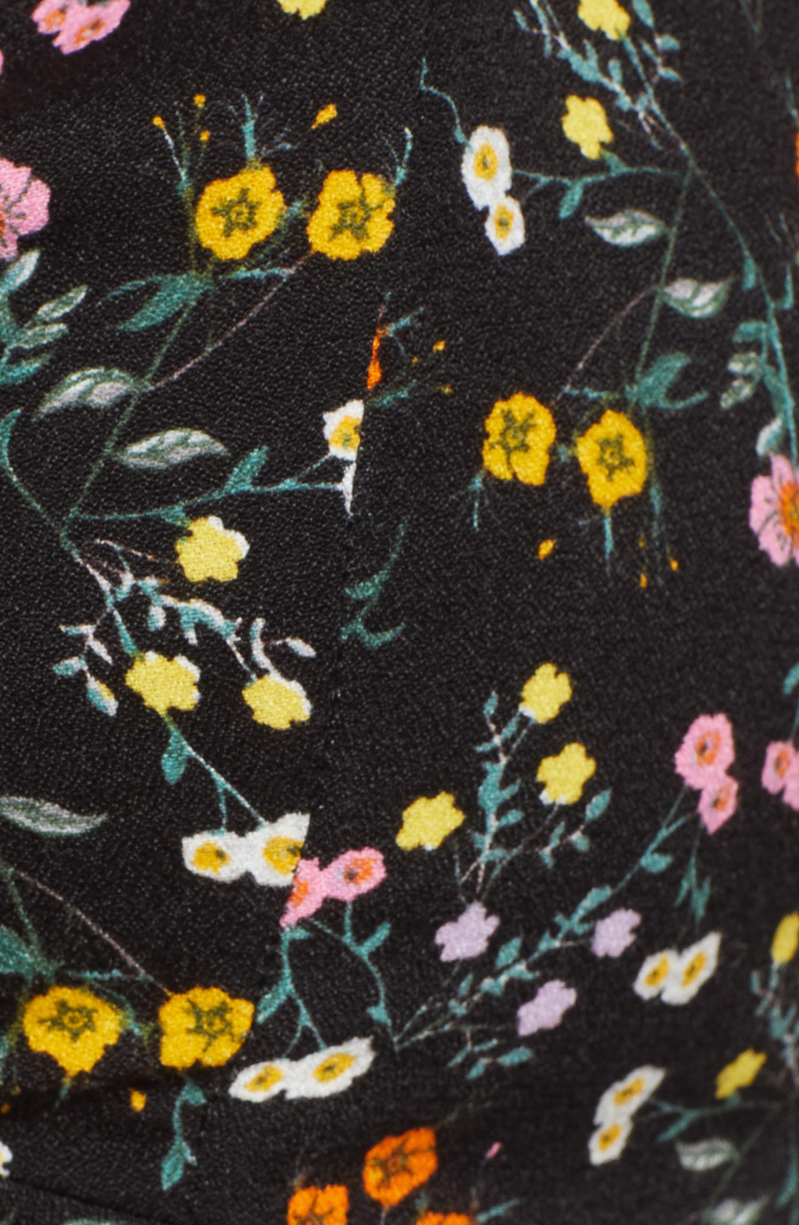 Lias Twist Front Crop Top,                             Alternate thumbnail 5, color,                             Noir Petite Fleur
