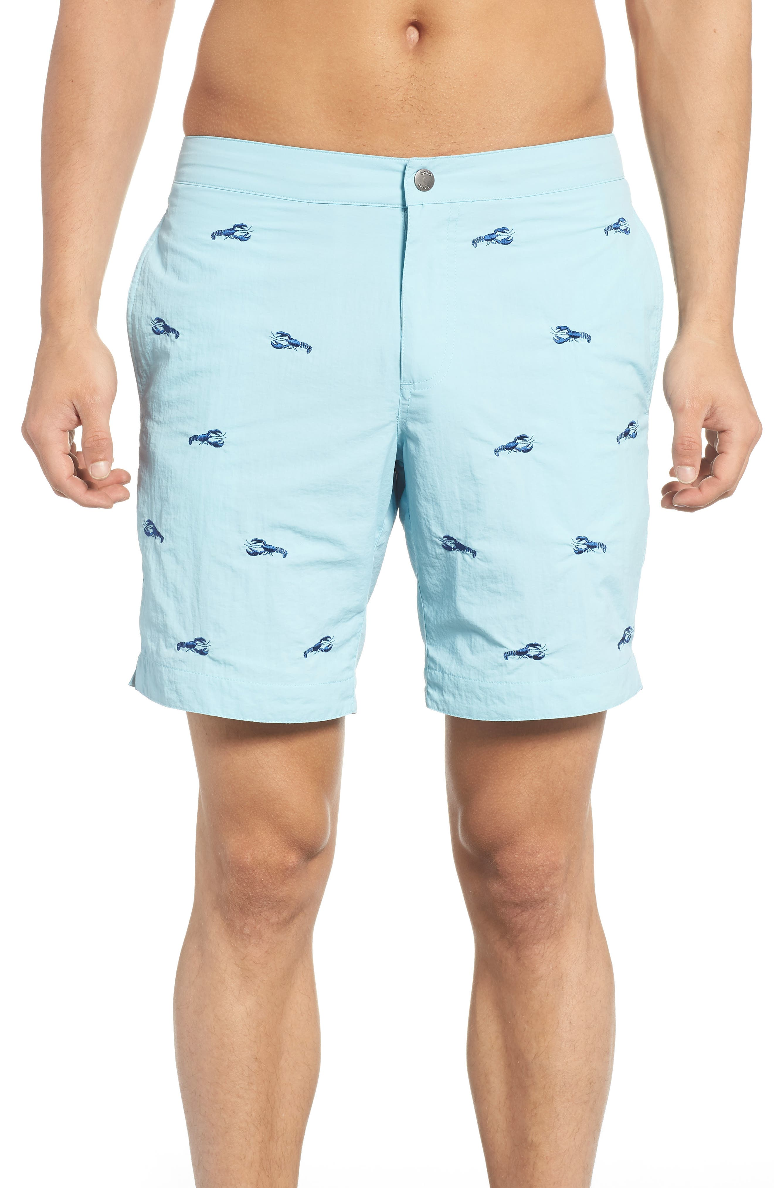 Aruba Embroidered Lobster Swim Trunks,                             Main thumbnail 1, color,                             Aqua Embroidered Lobsters