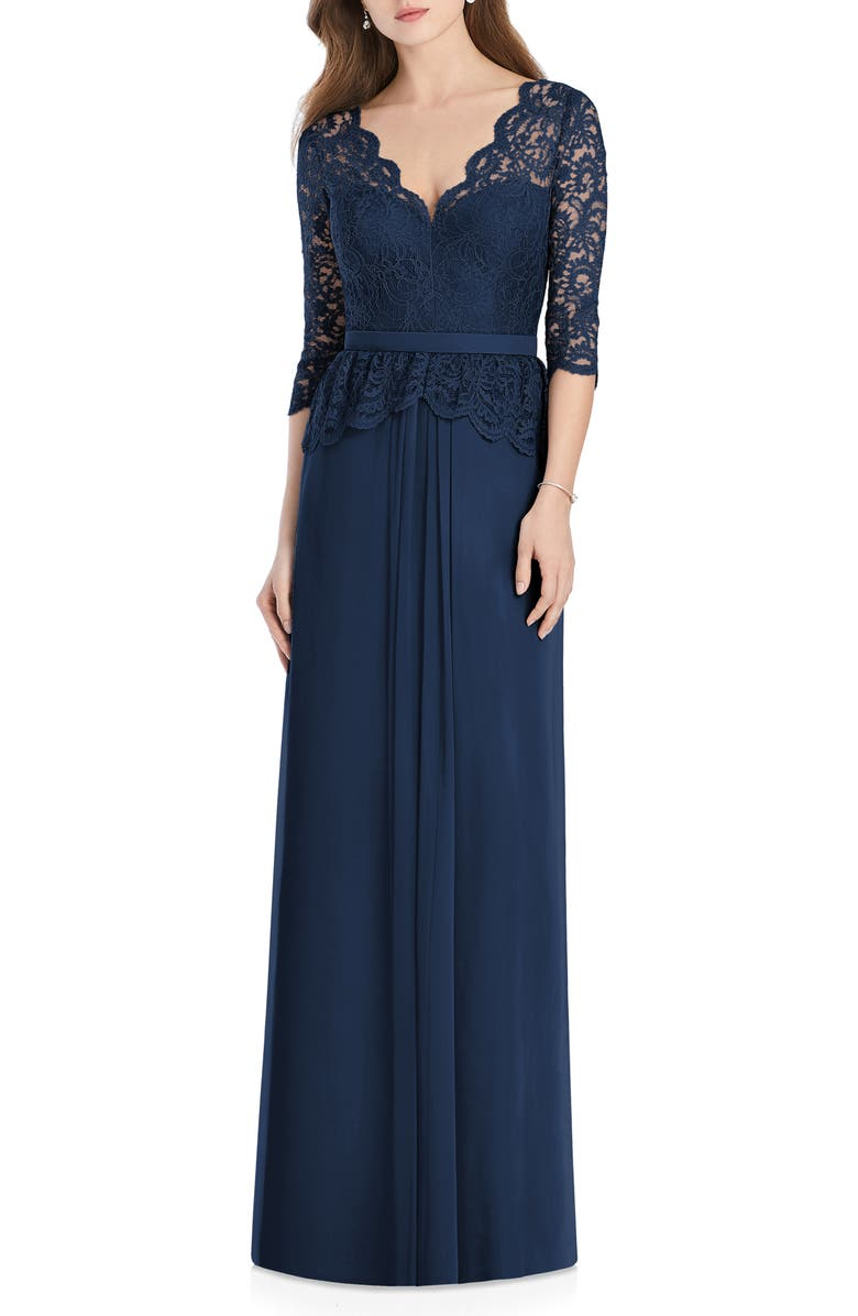 Jenny Packham Lux Lace & Chiffon Column Gown In Midnight