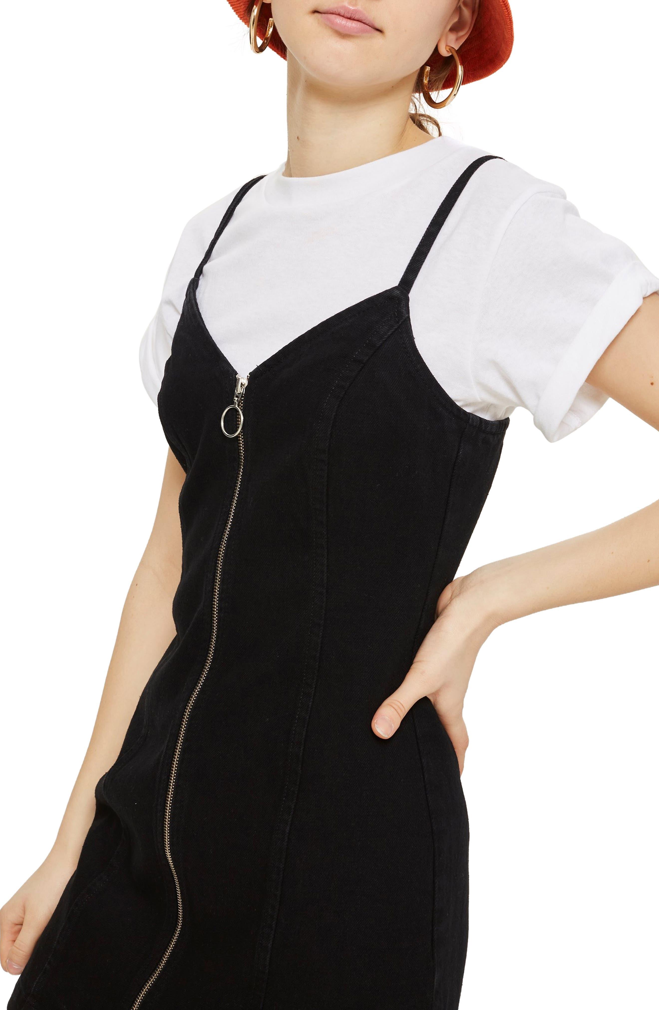 Zip Through Denim Body-Con Dress,                             Alternate thumbnail 3, color,                             Black