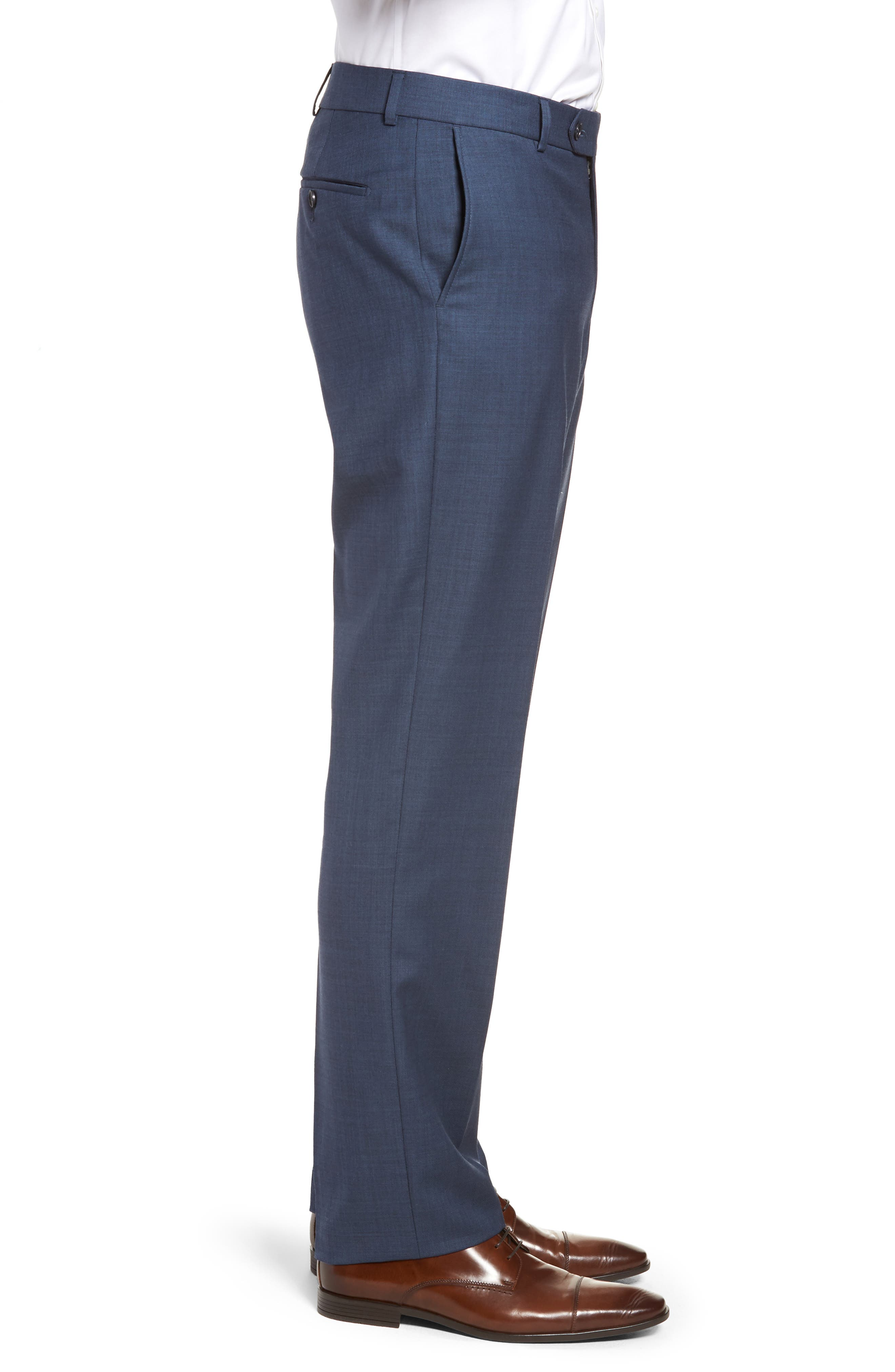 Flat Front Sharkskin Wool Trousers,                             Alternate thumbnail 5, color,                             New Navy