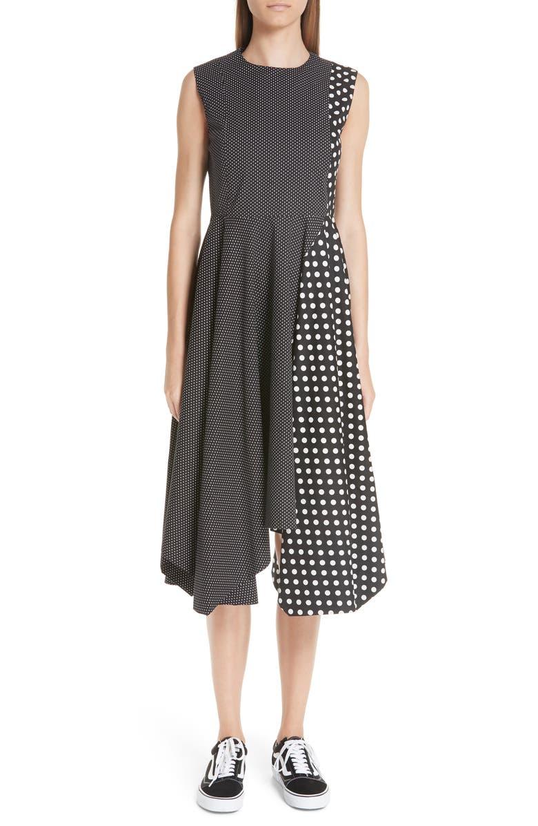 Dot Print Sleeveless Fit  Flare Dress