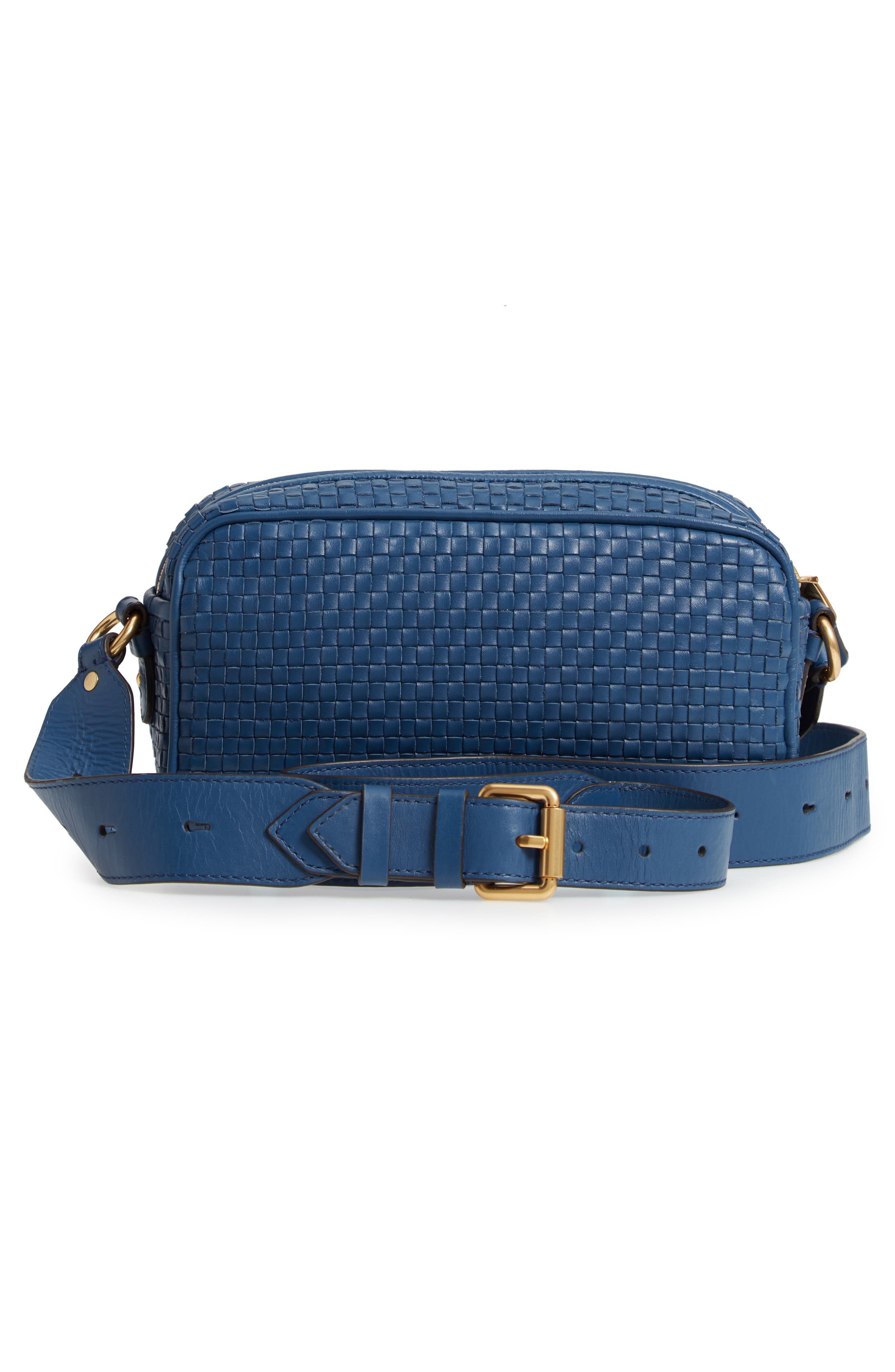 Zoe RFID Woven Leather Camera Bag,                             Alternate thumbnail 3, color,                             Navy Peony