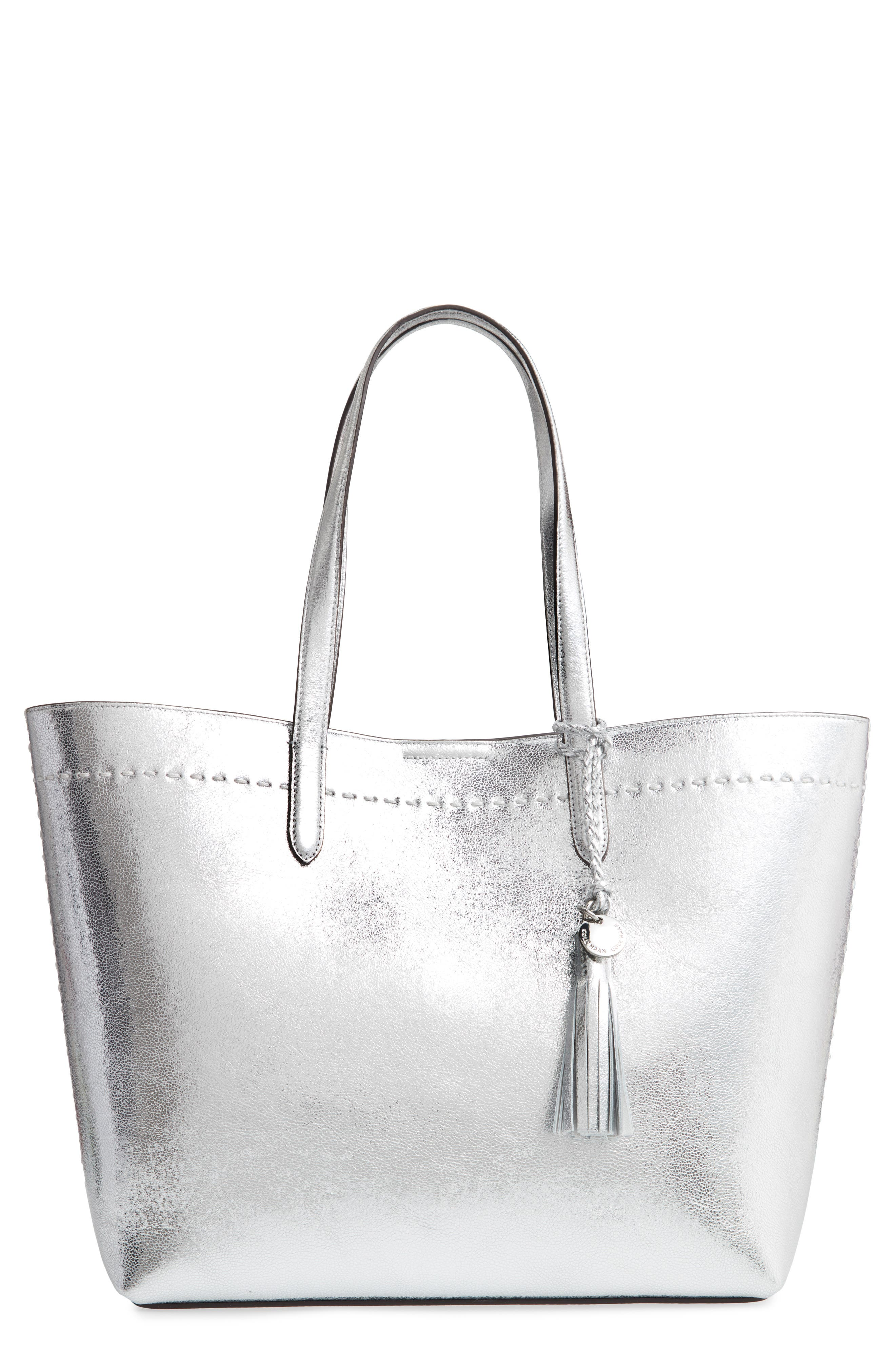 Payson Metallic Leather Tote,                         Main,                         color, Ch Silver