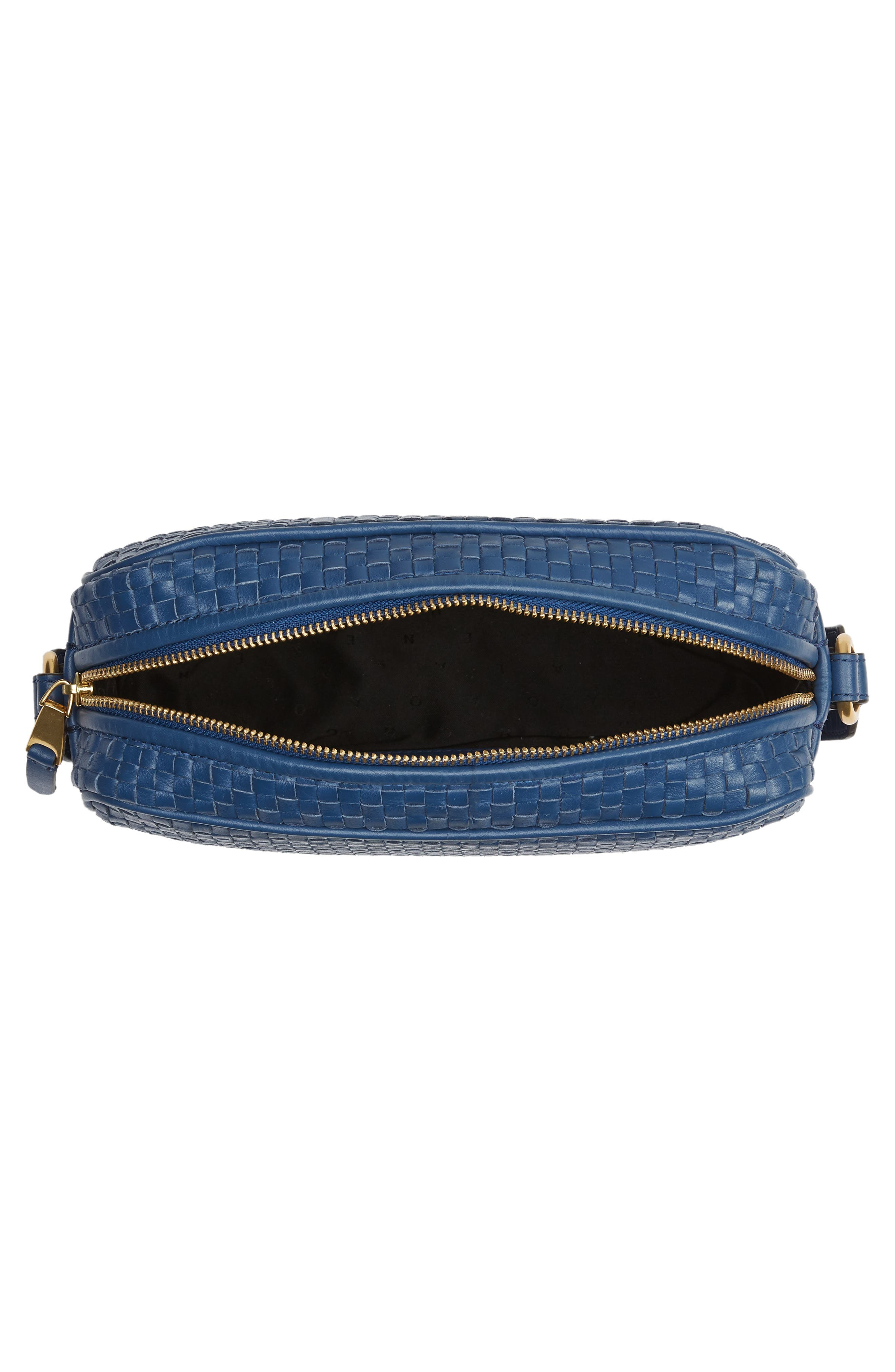 Zoe RFID Woven Leather Camera Bag,                             Alternate thumbnail 6, color,                             Navy Peony