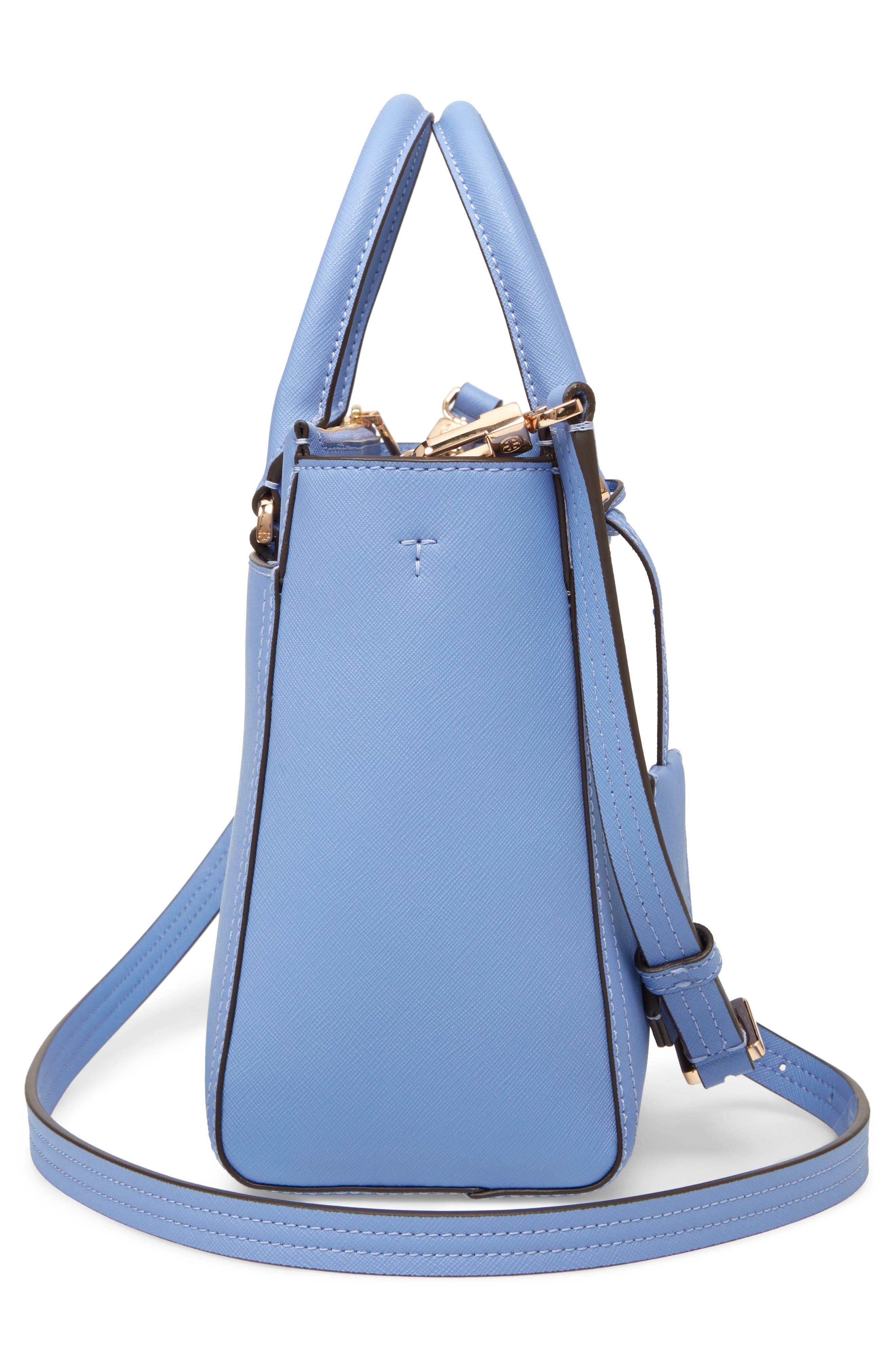 Small Robinson Double-Zip Leather Tote,                             Alternate thumbnail 5, color,                             Bow Blue
