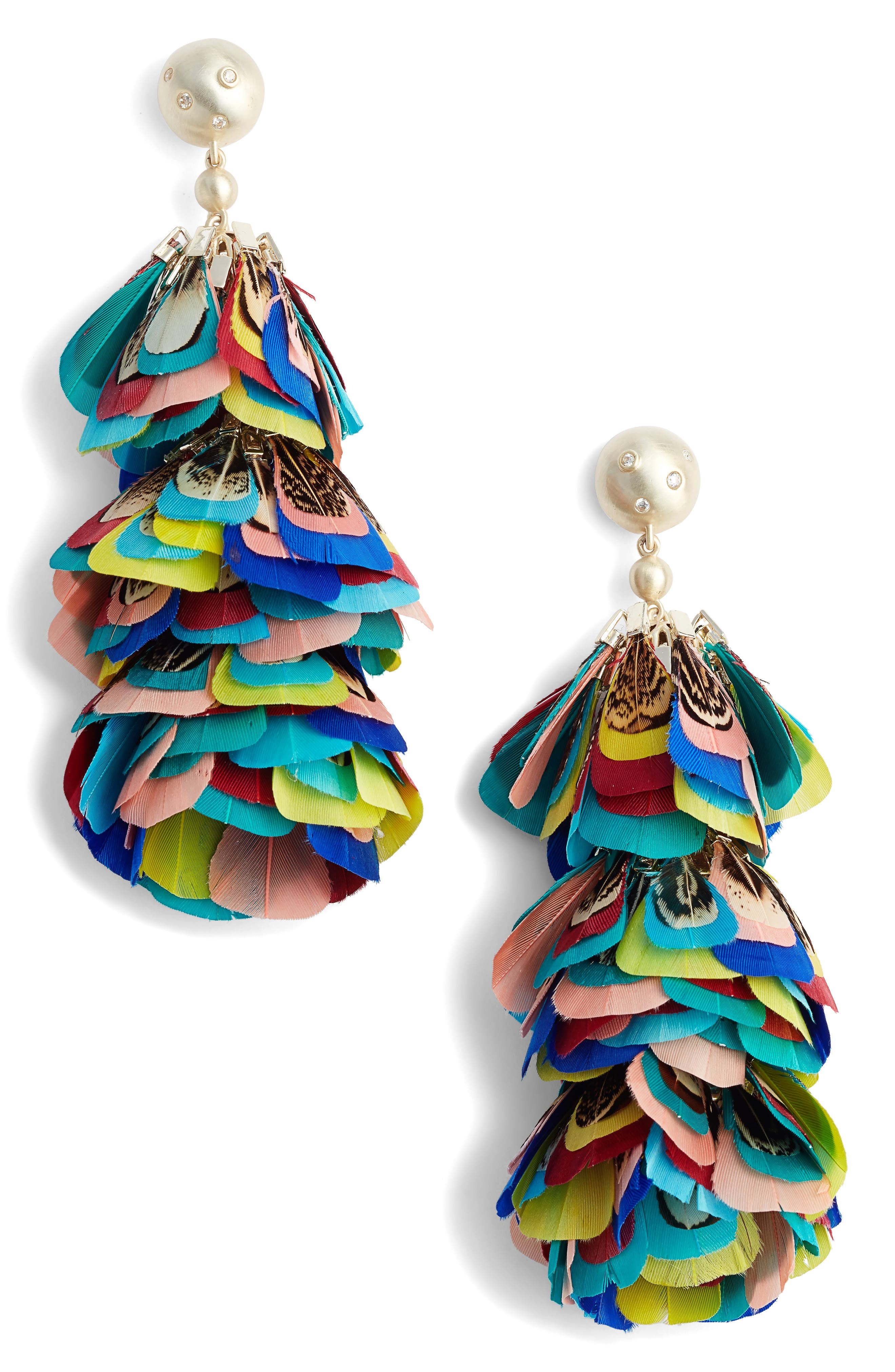 LENNI MULTICOLOR FEATHER STATEMENT EARRINGS