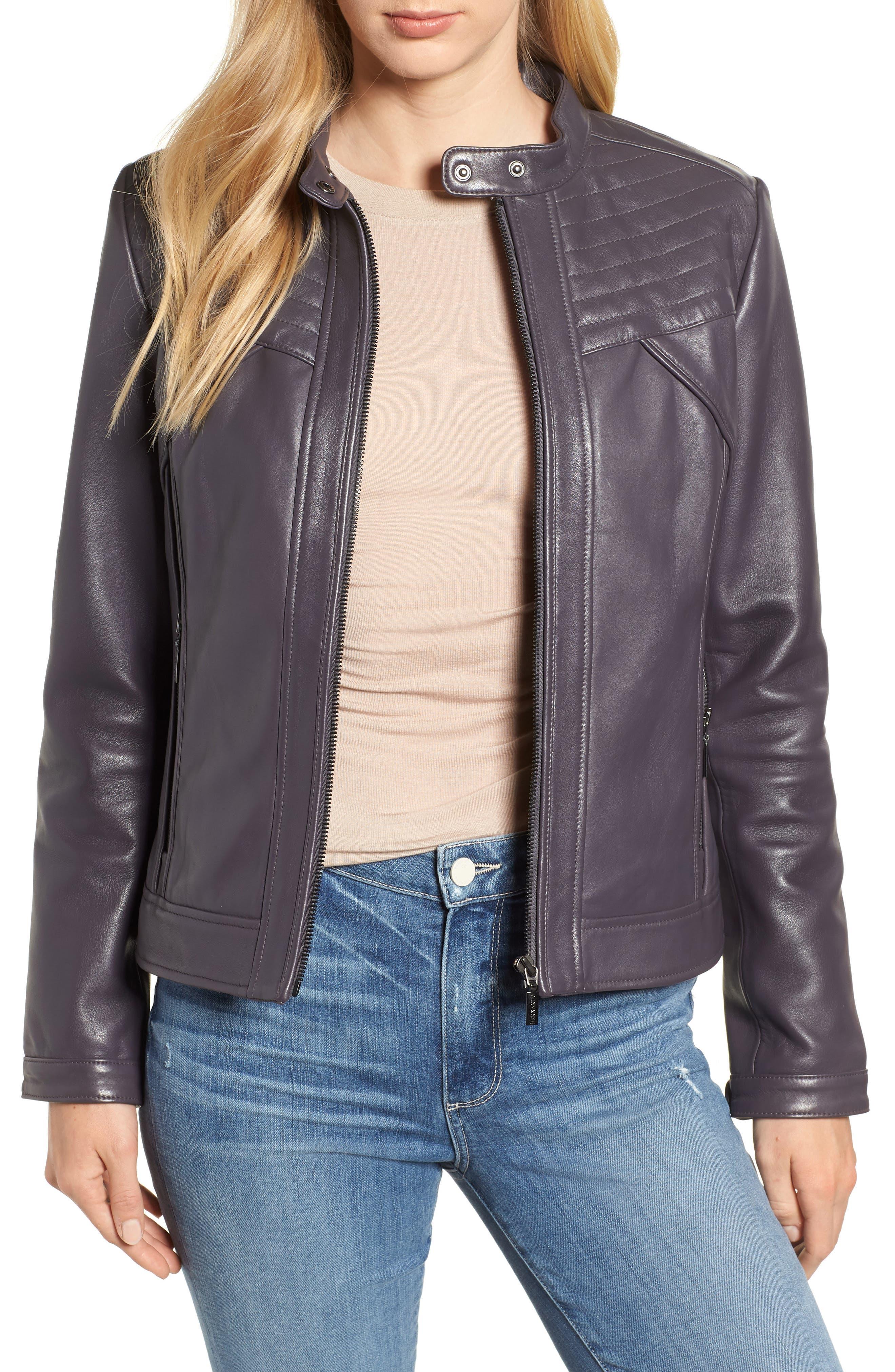 BERNARDO Stitched Leather Jacket in Midnight