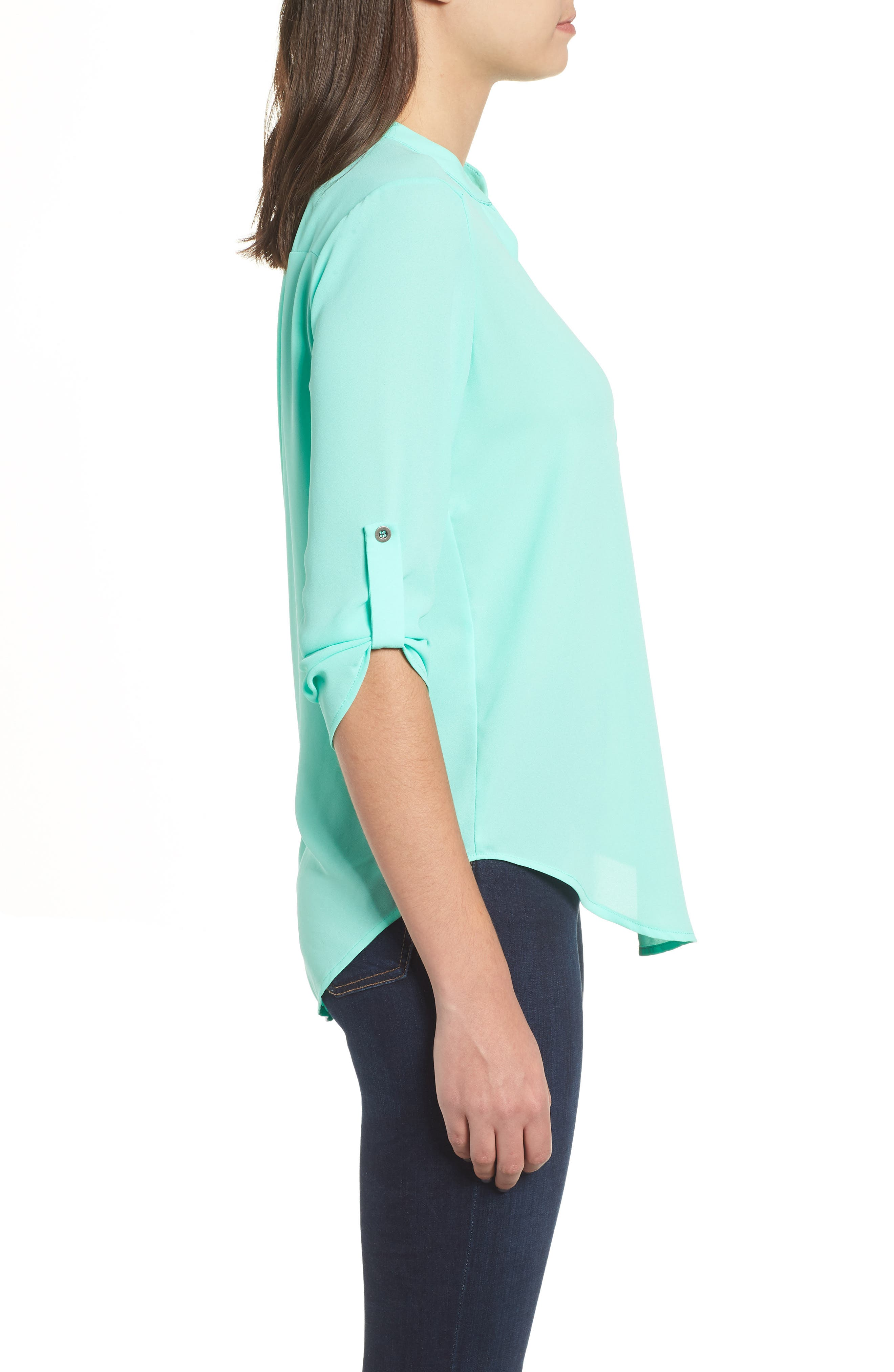 Roll Tab Sleeve Woven Shirt,                             Alternate thumbnail 2, color,                             Mint Green