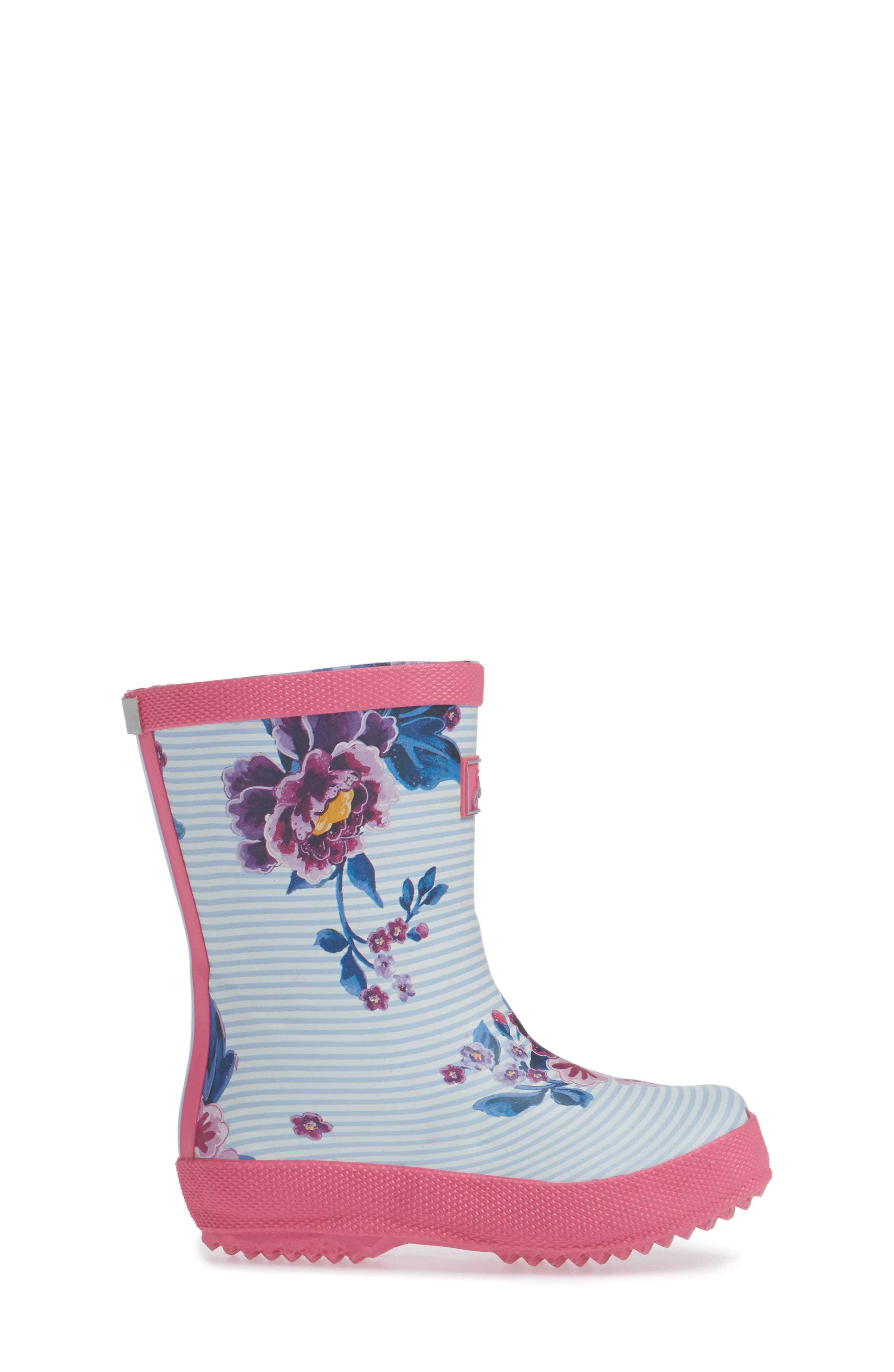 Baby Welly Print Waterproof Boot,                             Alternate thumbnail 3, color,                             Sky Blue Chinoiserie Floral