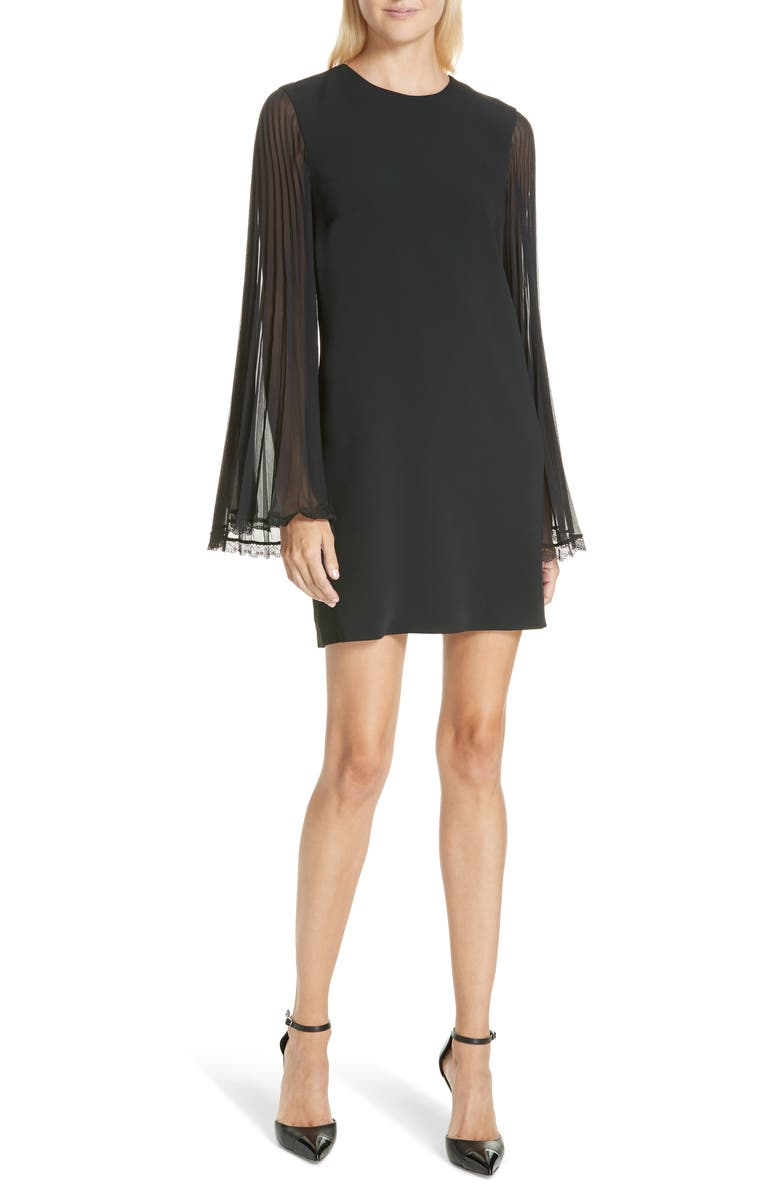 Pleated Sleeve Shift Dress