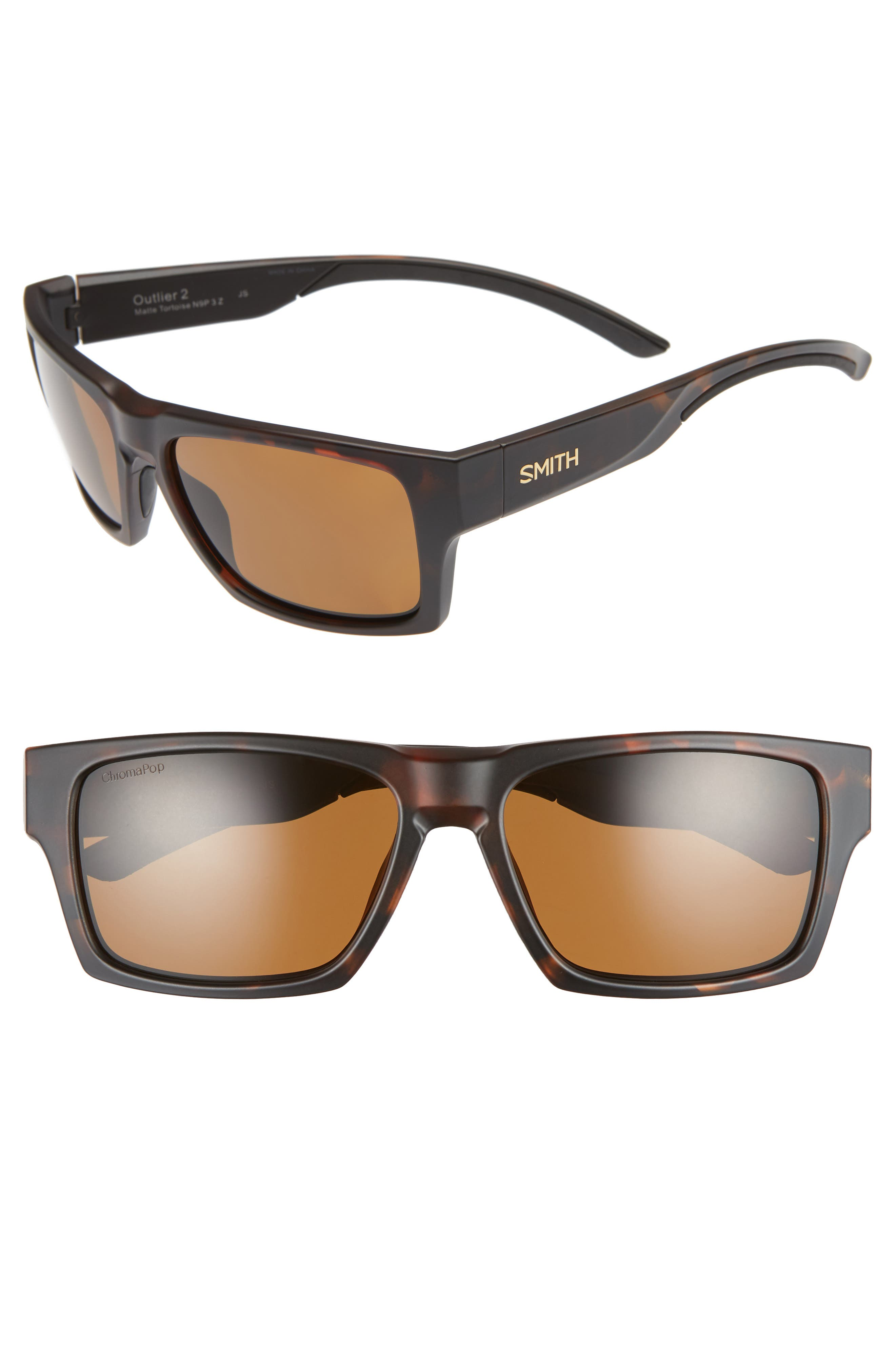 SMITH OUTLIER 2 57MM CHROMAPOP(TM) SQUARE SUNGLASSES - MATTE TORTOISE