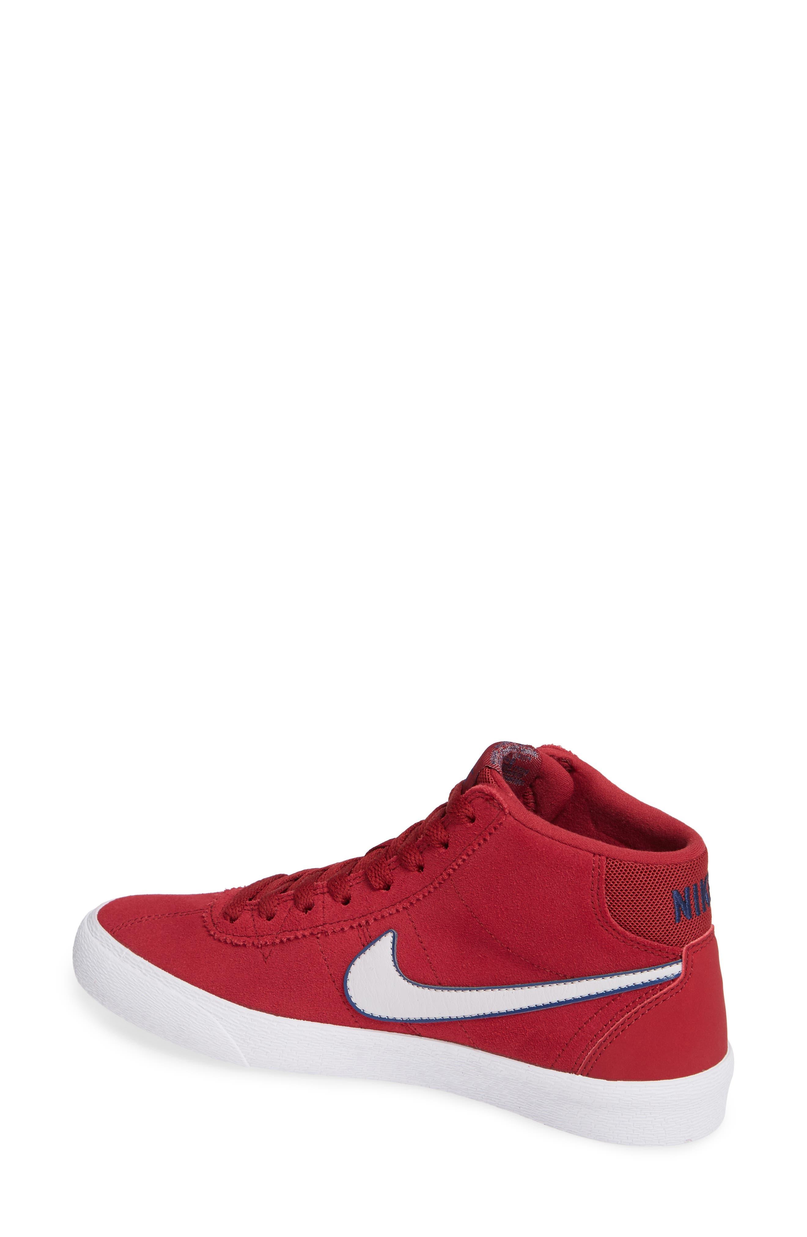 SB Bruin Hi Skateboarding Sneaker,                             Alternate thumbnail 2, color,                             Red Crush/ Vast Grey/ White