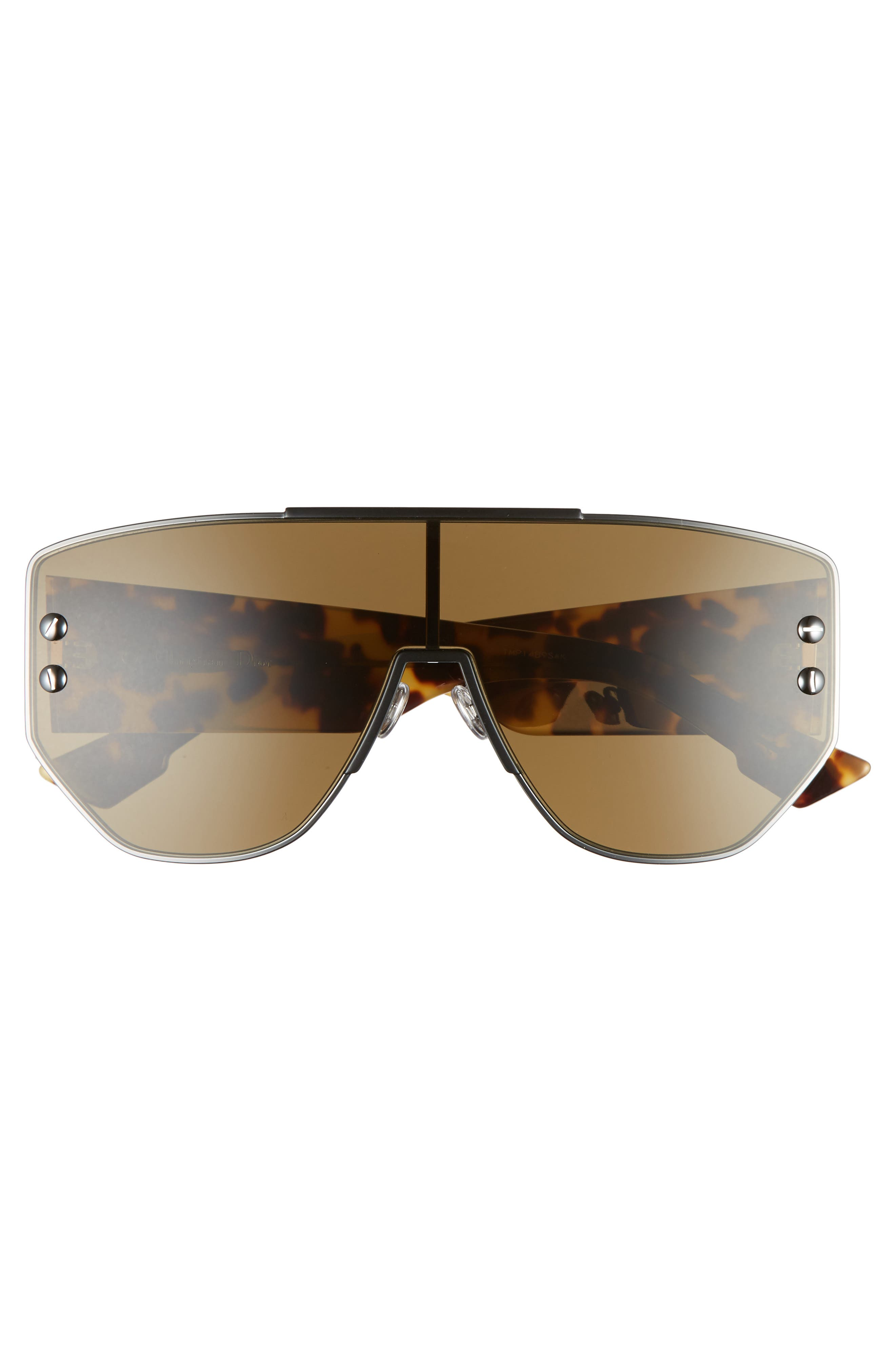 72mm Rimless Shield Sunglasses,                             Alternate thumbnail 3, color,                             Dark Ruthenium/ Black