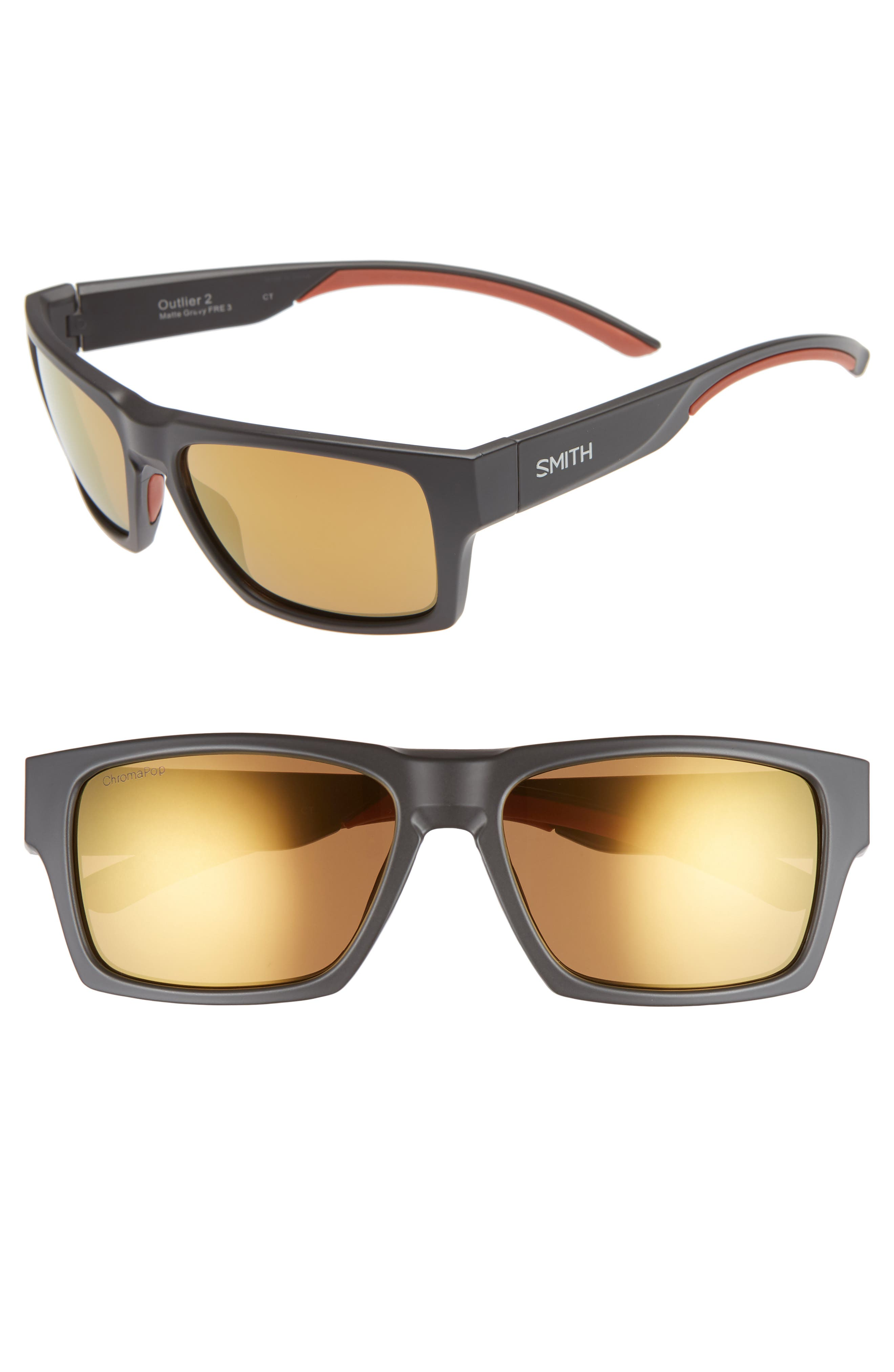 SMITH OUTLIER 2 57MM POLARIZED SQUARE SUNGLASSES - MATTE GRAVY