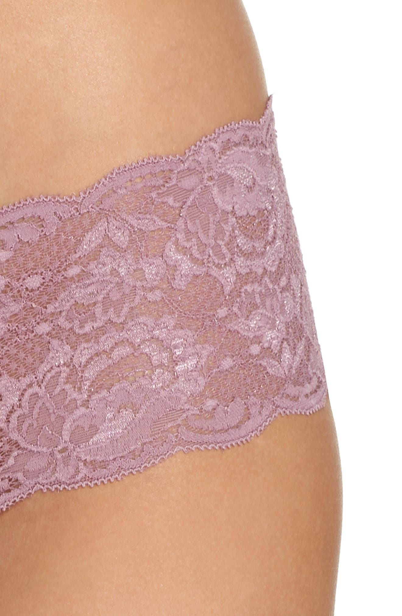'Never Say Never' Hipster Briefs,                             Alternate thumbnail 3, color,                             Grape