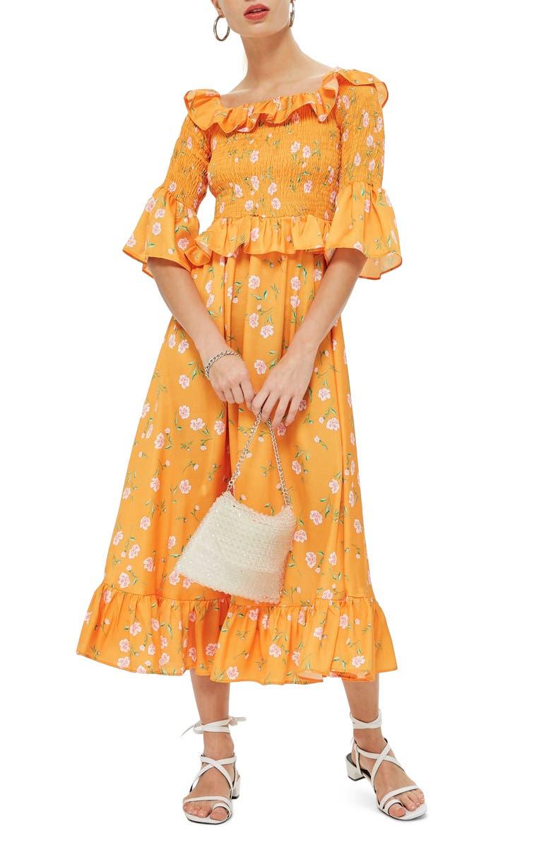 Shirred Ruffle Midi Dress