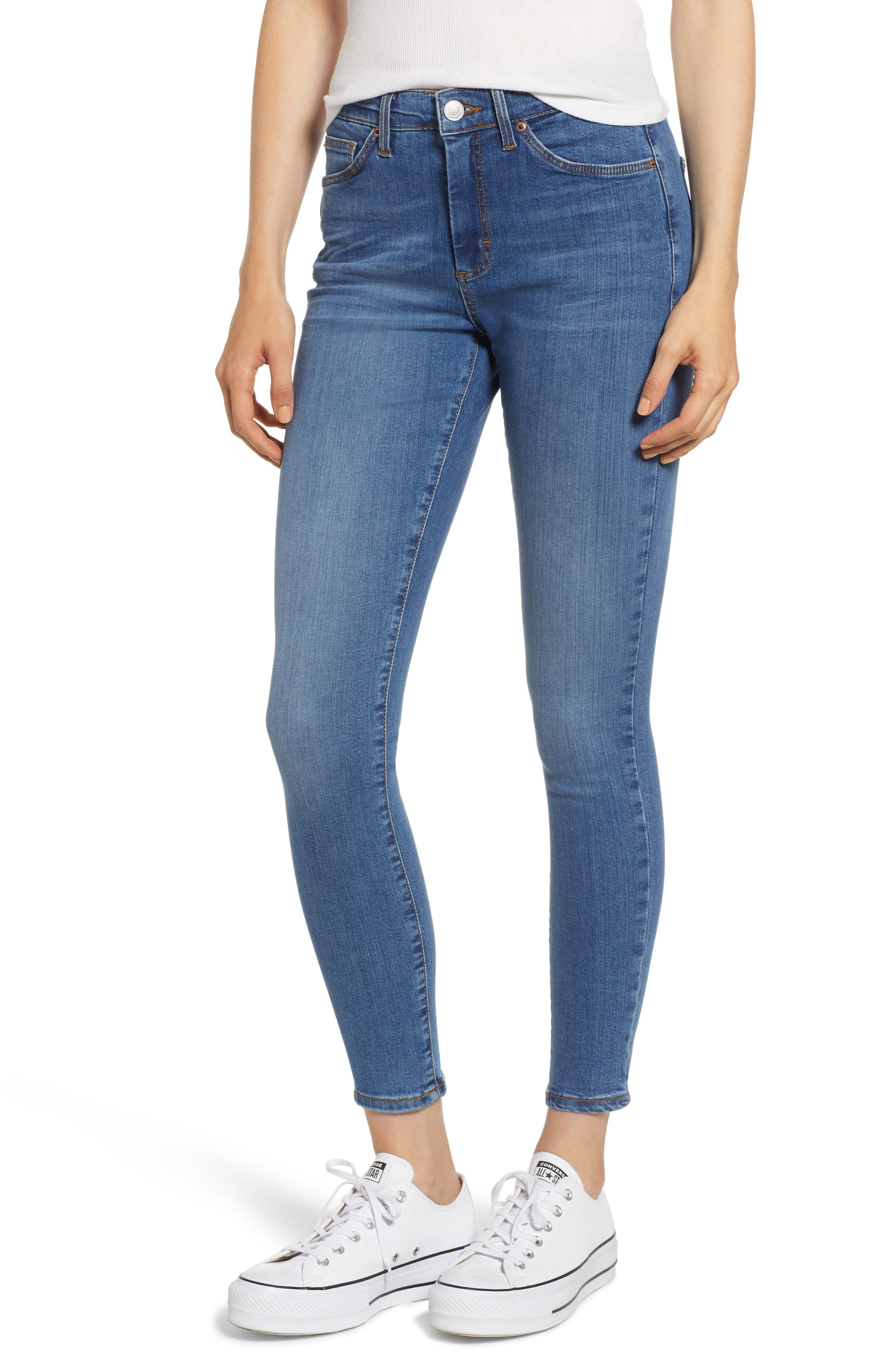 MOTO Sidney Stretch Skinny Jeans,                             Main thumbnail 1, color,                             Mid Stone