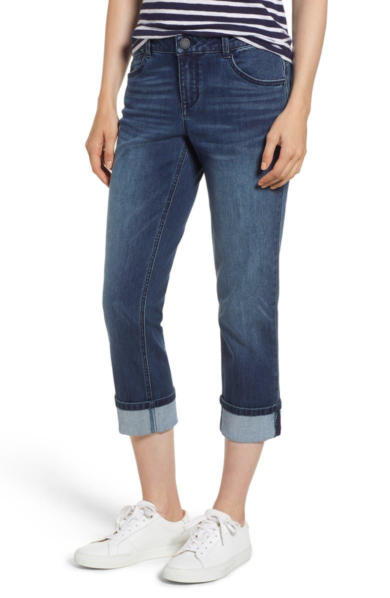 Stretch Cotton Cuffed Jeans