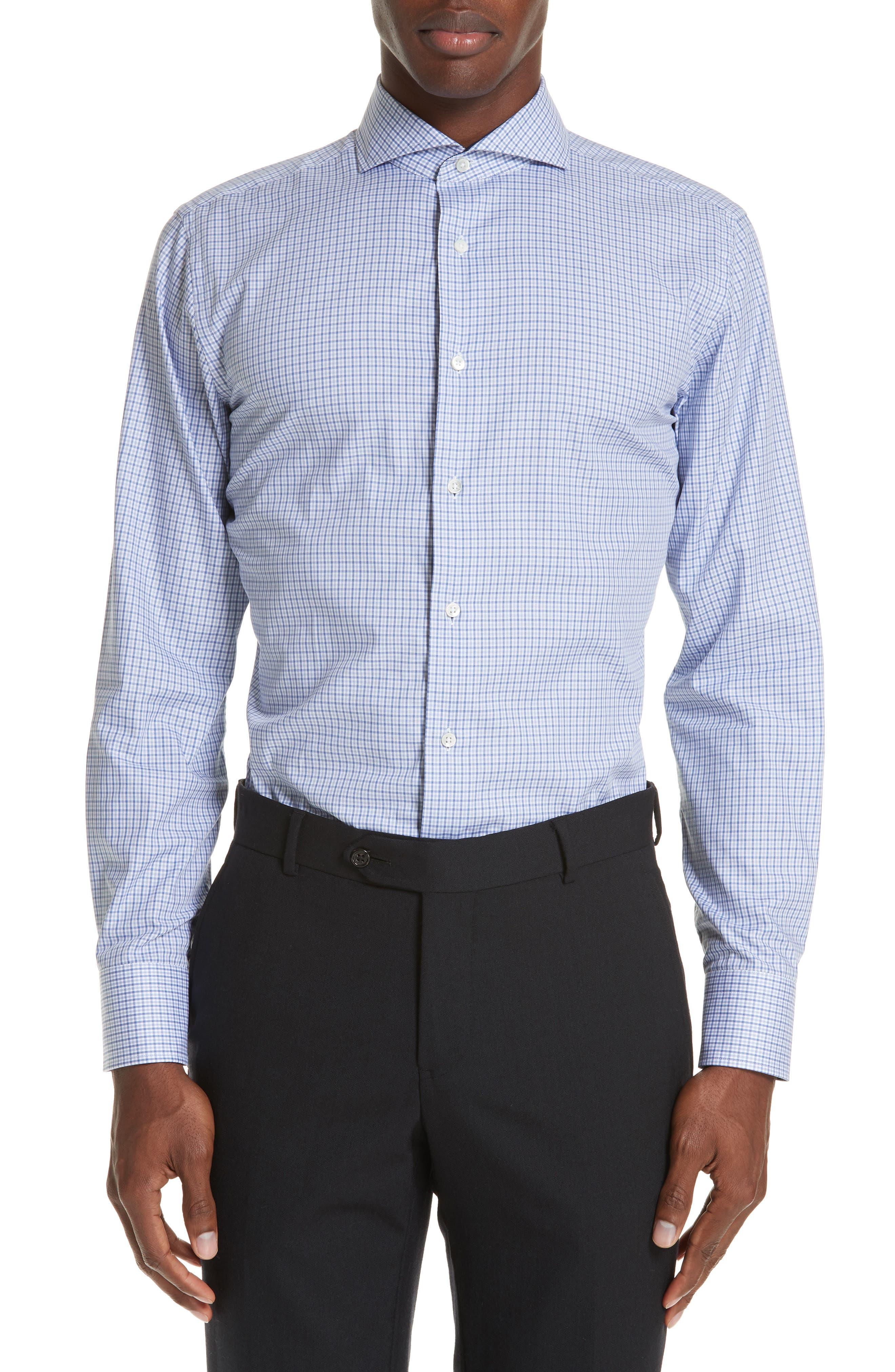 Regular Fit Check Dress Shirt,                             Main thumbnail 1, color,                             Medium Blue