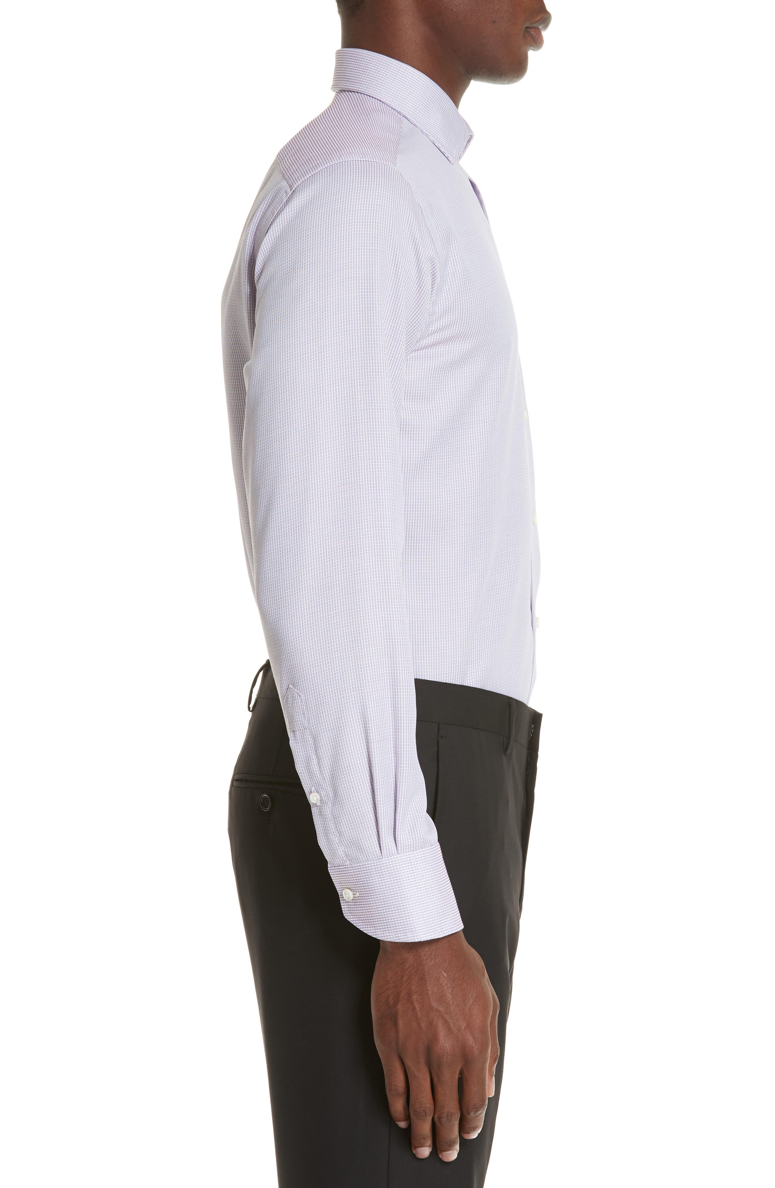 Regular Fit Stripe Dress Shirt,                             Alternate thumbnail 4, color,                             Light Pink