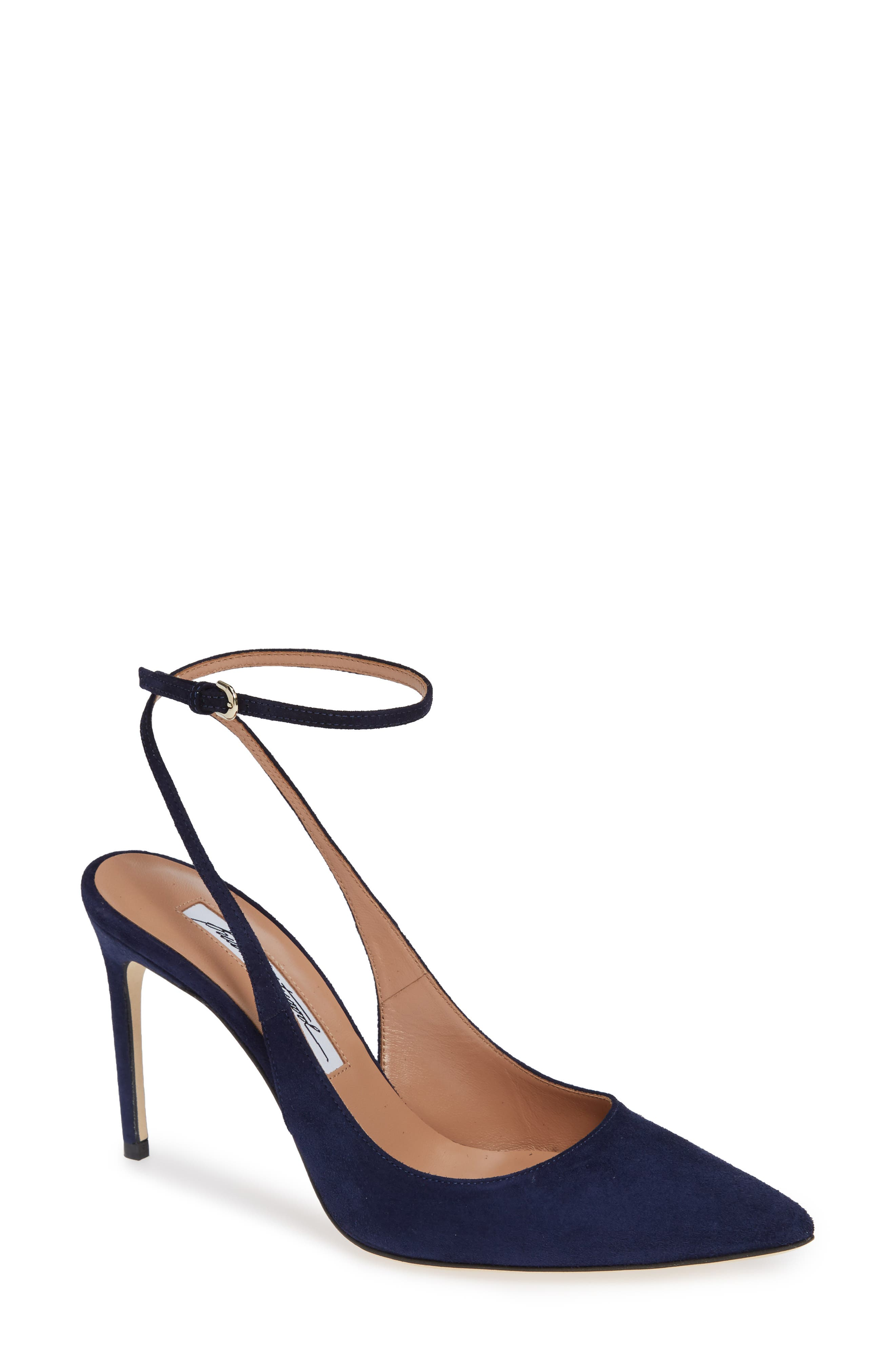 Vicky Wraparound Pump,                             Main thumbnail 1, color,                             Midnight Blue Suede