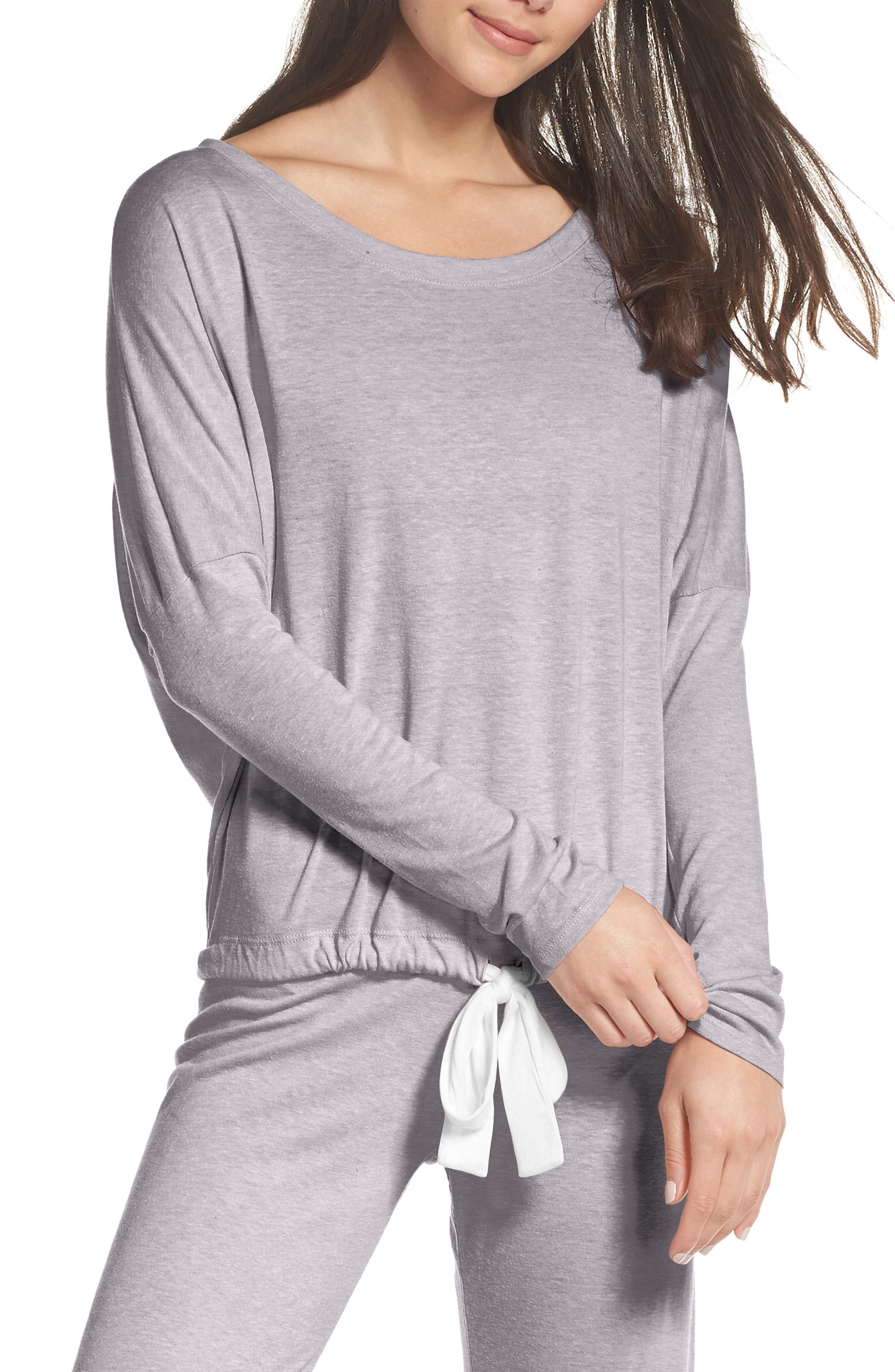 Heather Knit Slouchy Tee,                         Main,                         color, Grey Heather