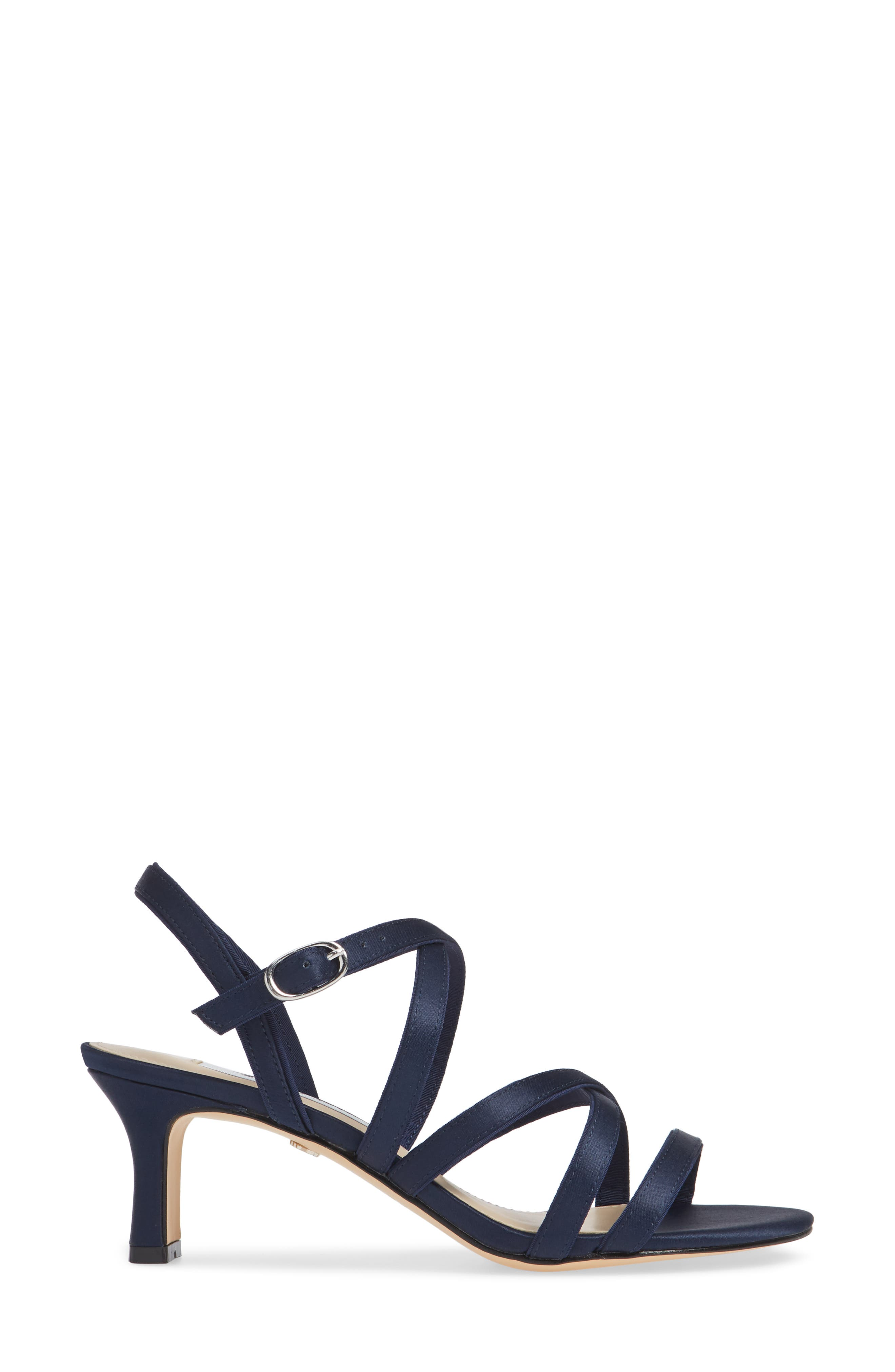 Genaya Strappy Evening Sandal,                             Alternate thumbnail 5, color,                             Navy Satin