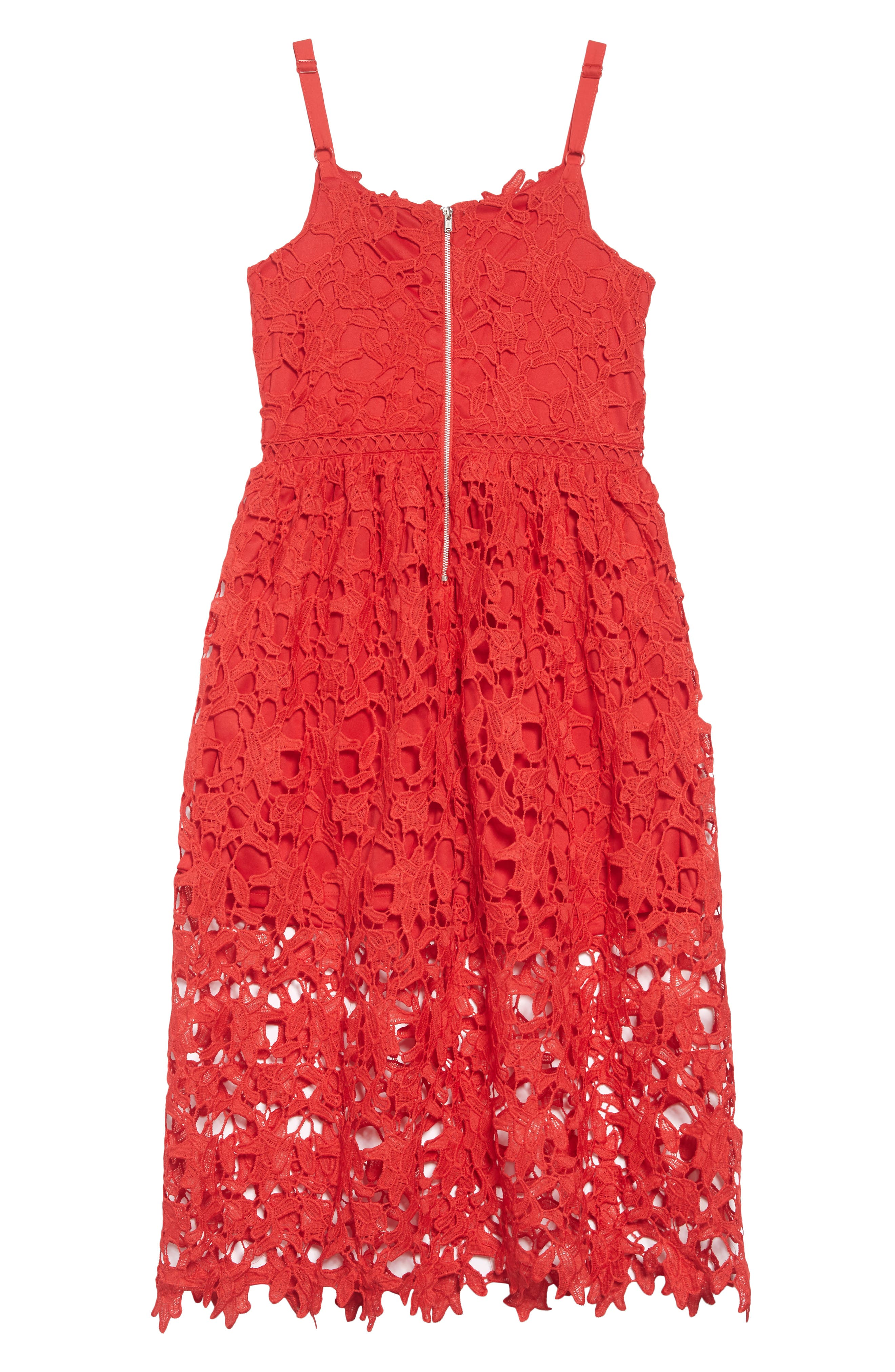 Floral Lace Dress,                             Alternate thumbnail 2, color,                             Red