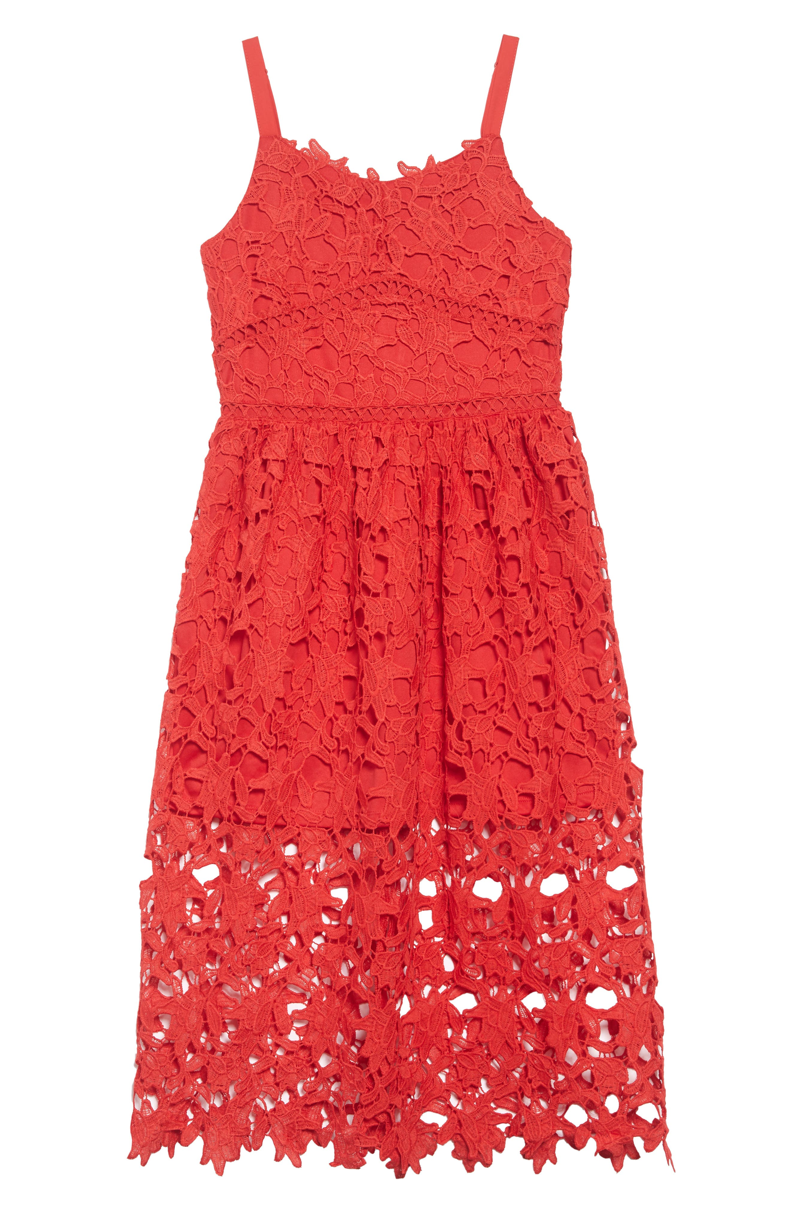 Floral Lace Dress,                             Main thumbnail 1, color,                             Red
