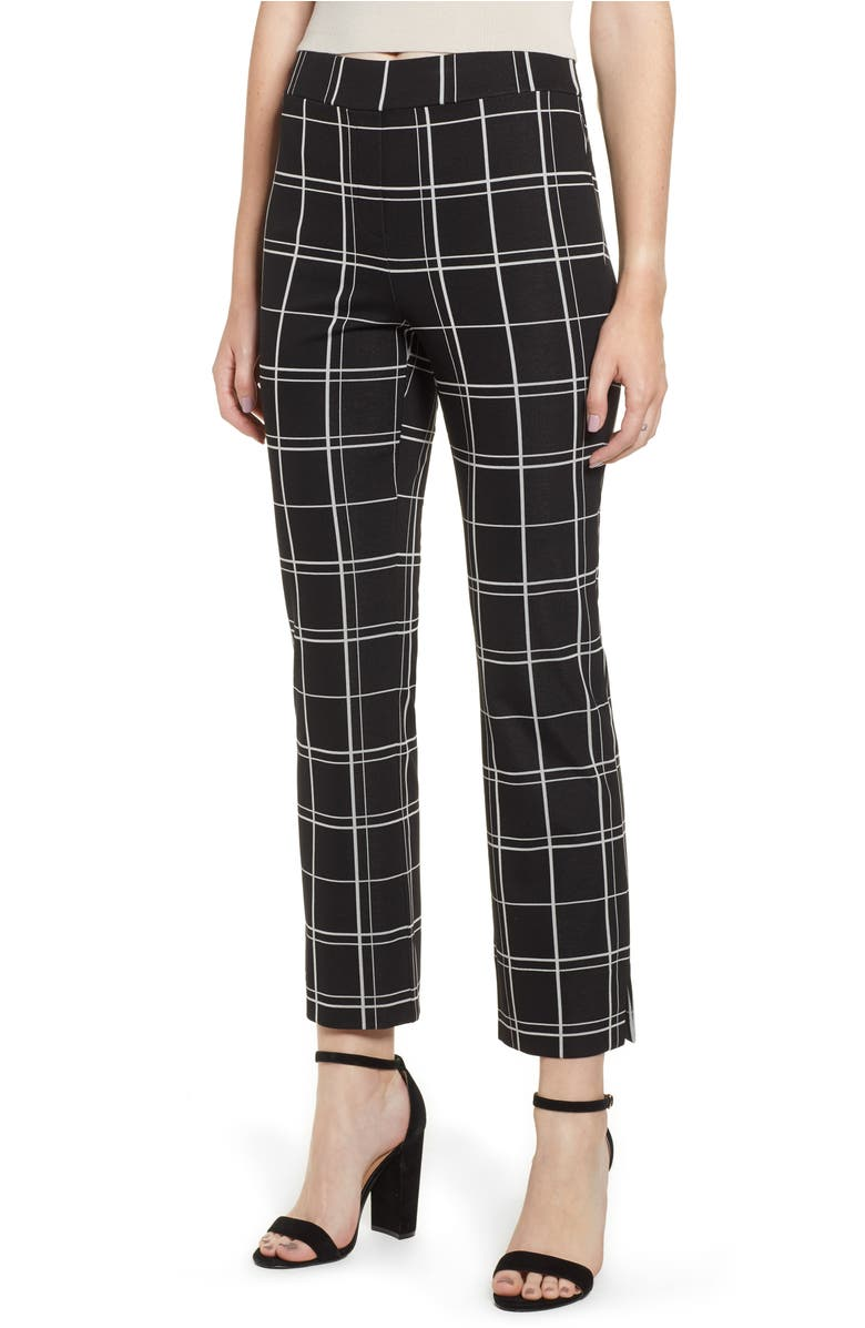 Pintuck Ponte Pant,                         Main,                         color, Black Glam City Windows