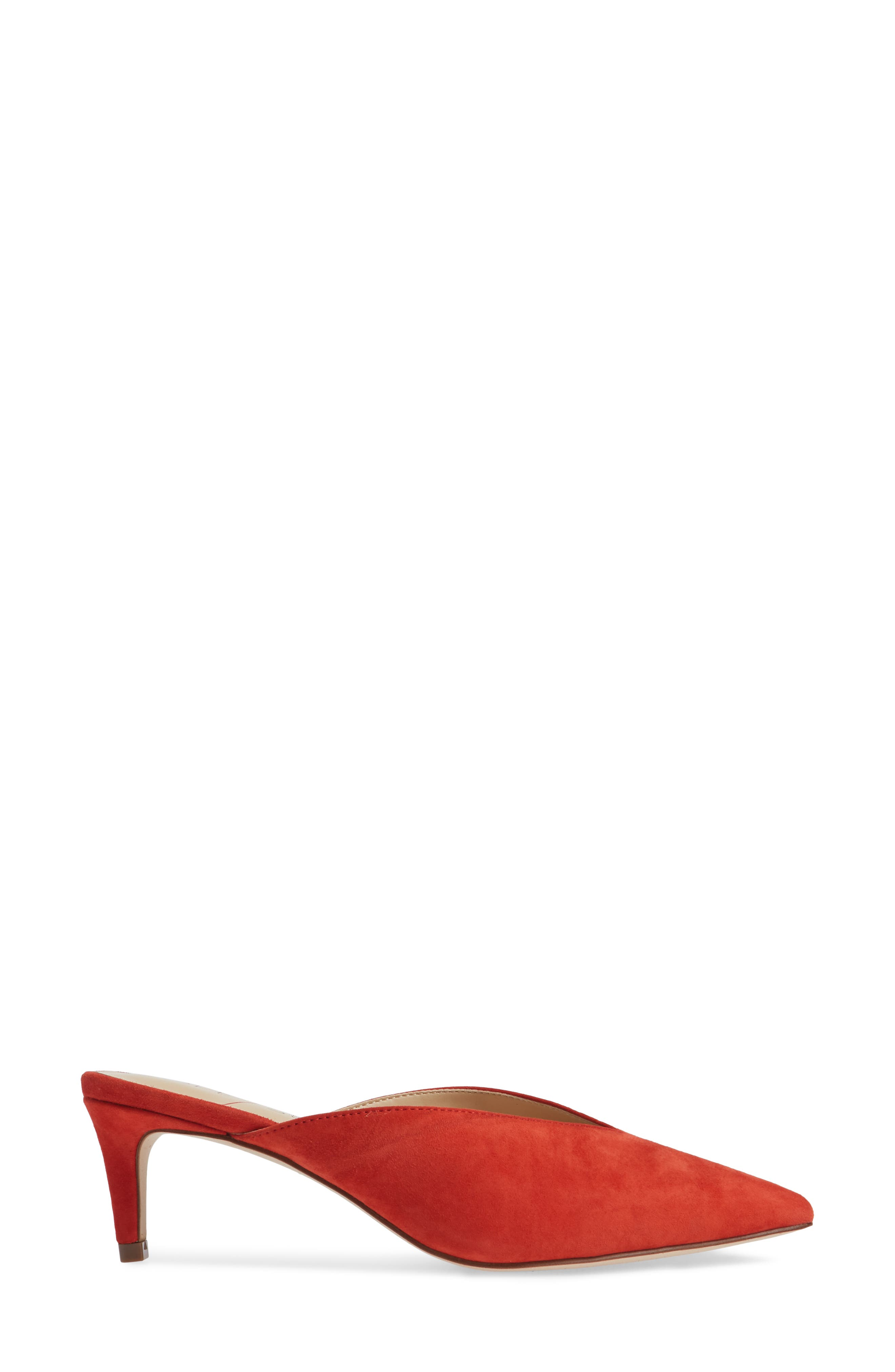Maleah Pointy Toe Mule,                             Alternate thumbnail 3, color,                             Deep Coral