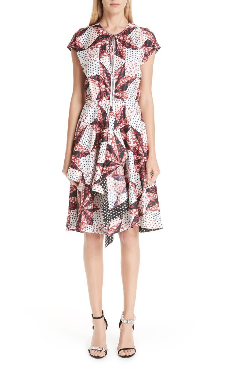 Patchwork Print Silk Dress