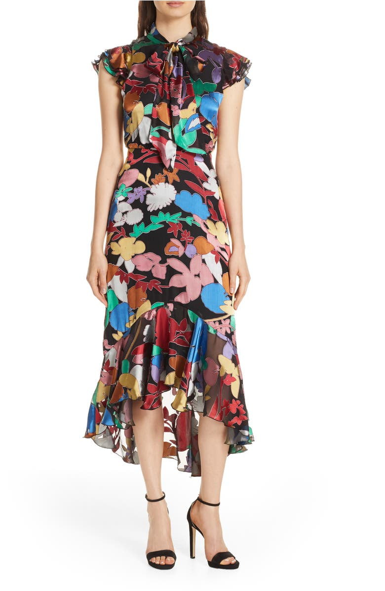 Lessie Tie Neck Silk Blend Ruffle Dress,                         Main,                         color, Rainbow Leaf Black