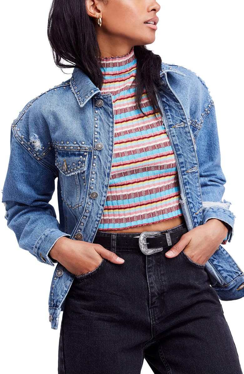 Studded Trucker Denim Jacket