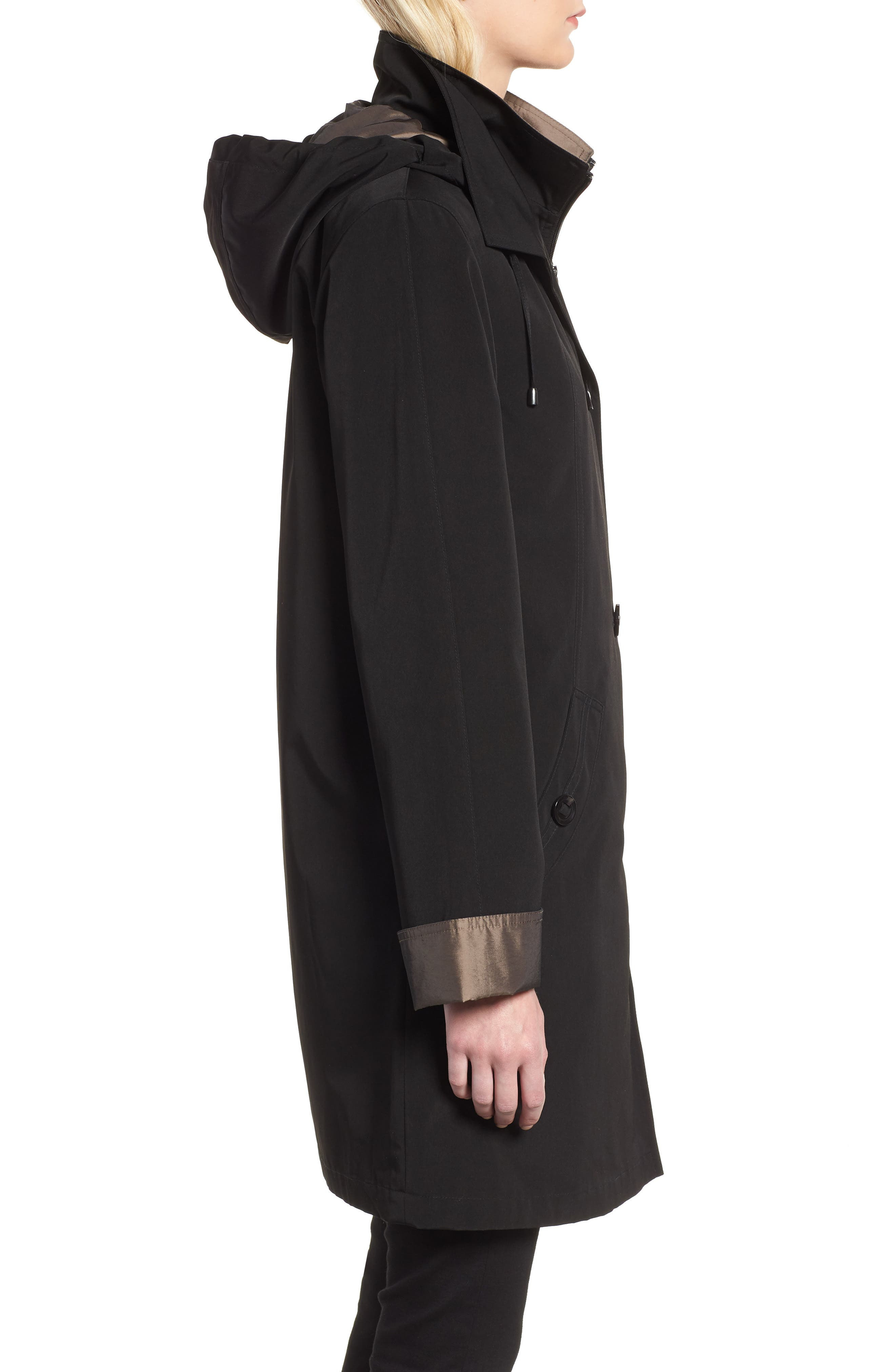 Detachable Hood & Liner Raincoat,                             Alternate thumbnail 4, color,                             Black