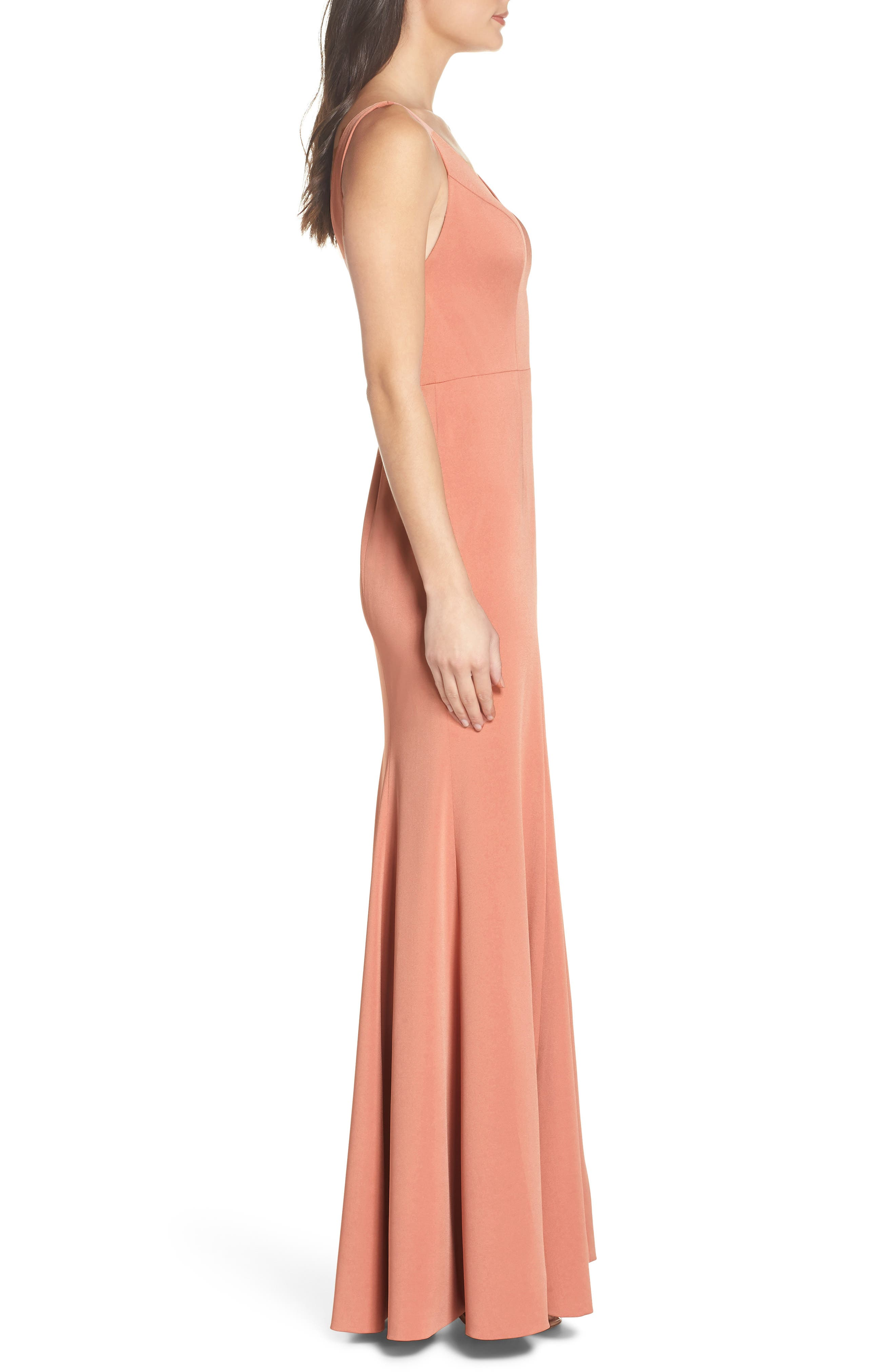 Jade Luxe Crepe V-Neck Gown,                             Alternate thumbnail 3, color,                             Sedona Sunset