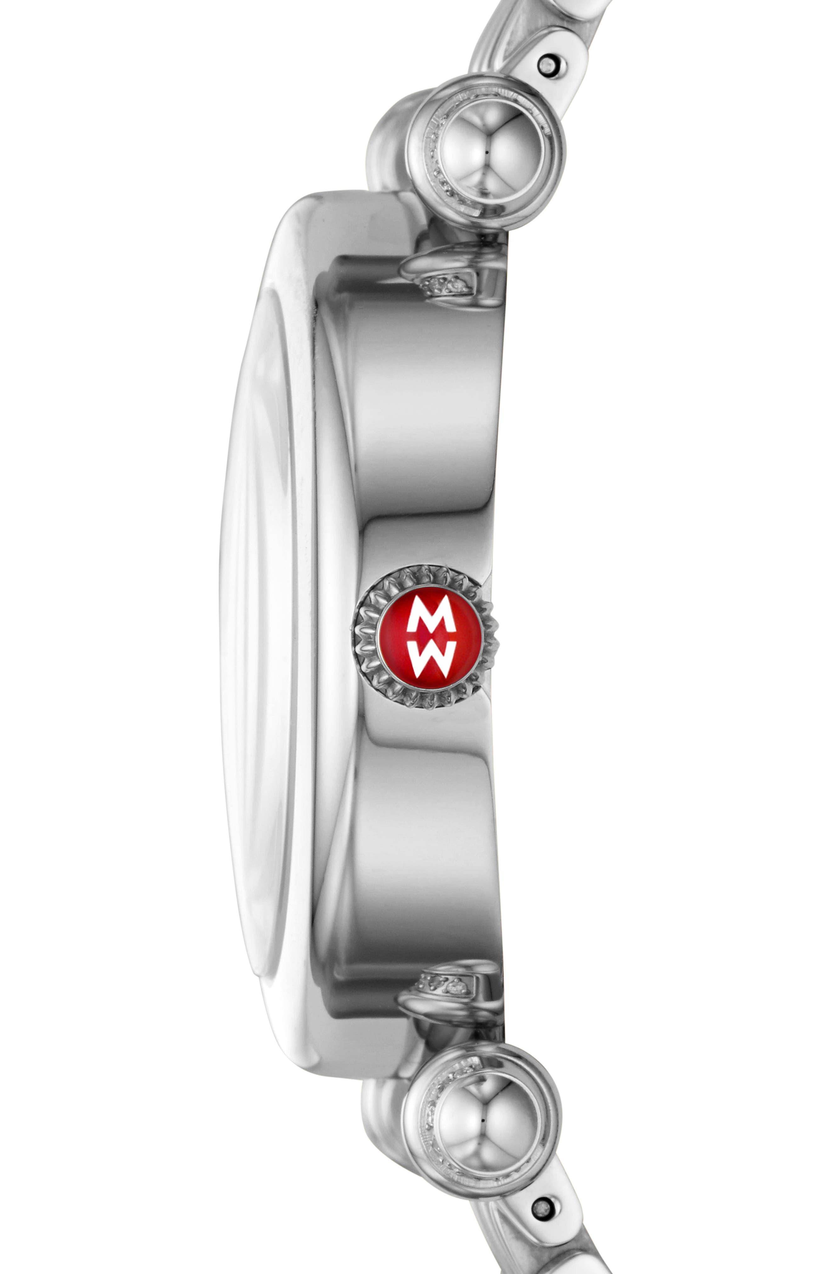 Caber Diamond Bracelet Watch, 35mm,                             Alternate thumbnail 3, color,                             Silver/ Mop/ Silver