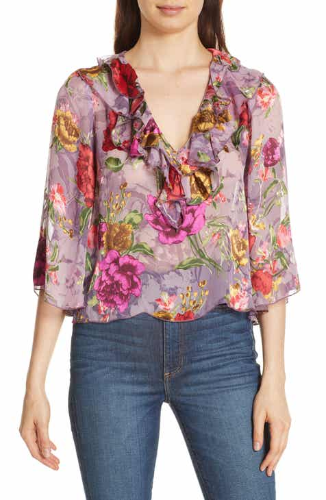 Womens floral tops blouses tees nordstrom alice olivia cabella floral burnout blouse mightylinksfo