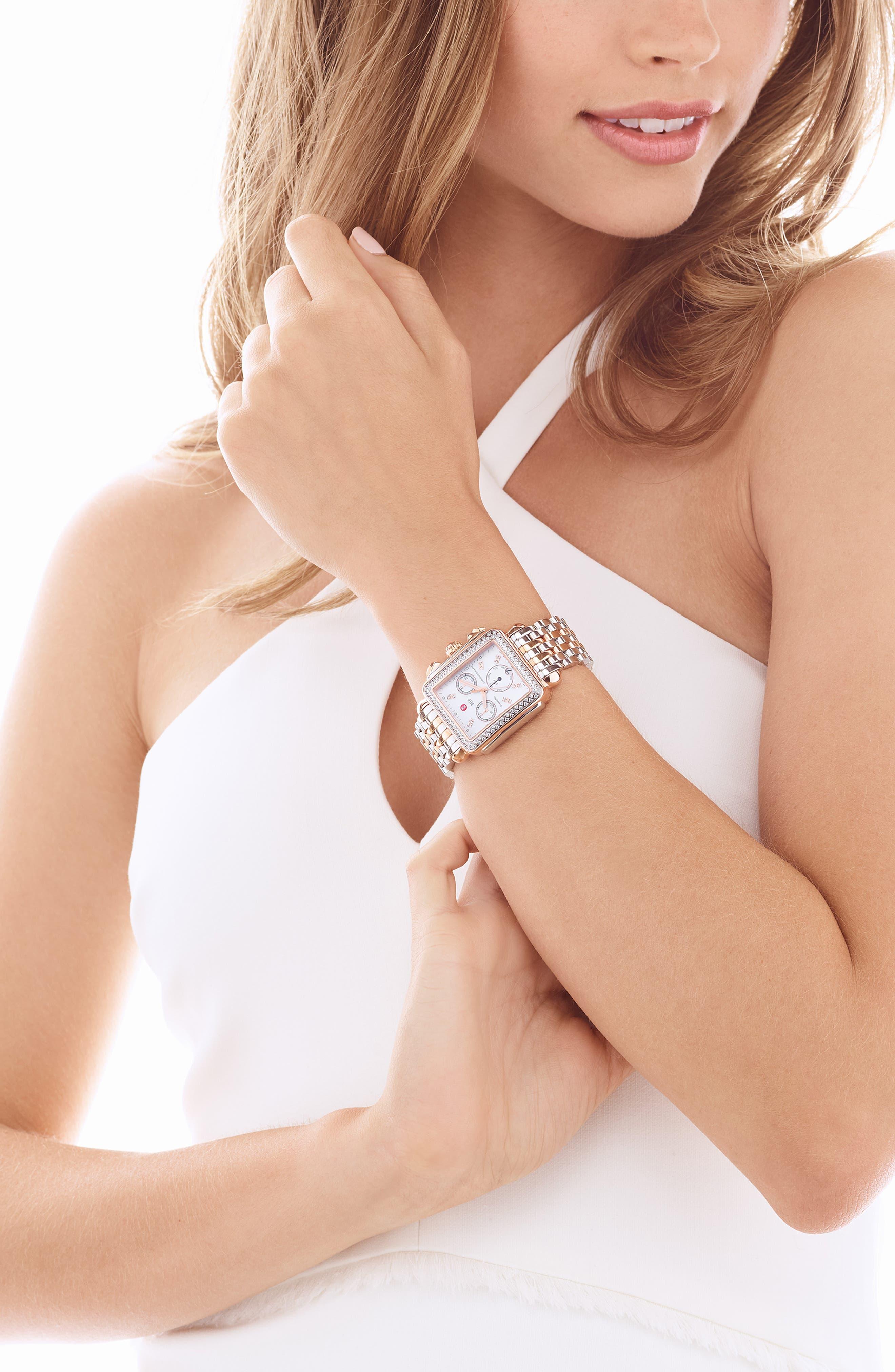 Deco 18mm Bracelet Watchband,                             Alternate thumbnail 2, color,                             Silver/ Rose Gold