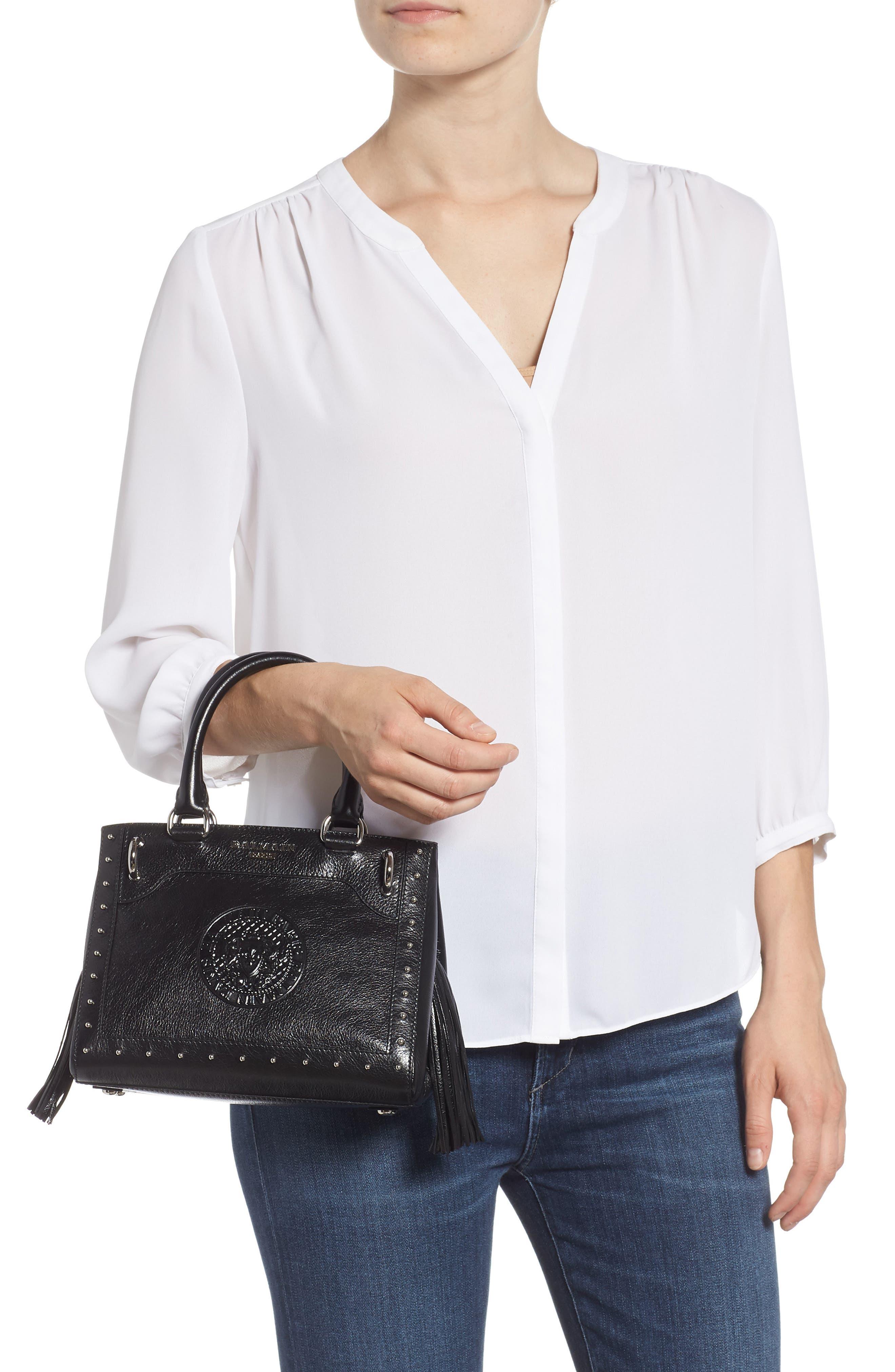 Mini Logo Calfskin Leather Top Handle Satchel,                             Alternate thumbnail 2, color,                             Noir