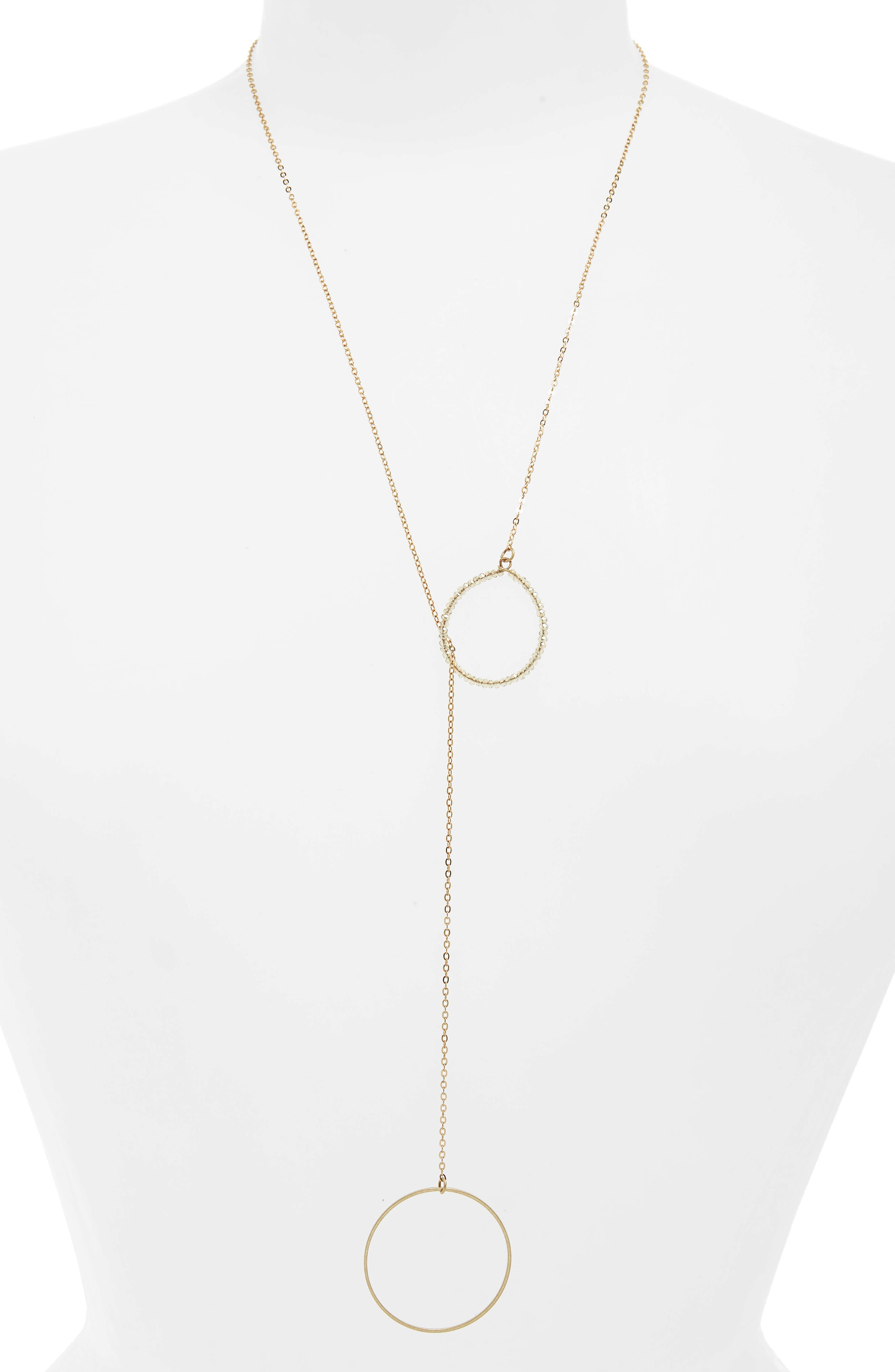 Double Circle Lariat Necklace,                         Main,                         color, Gold