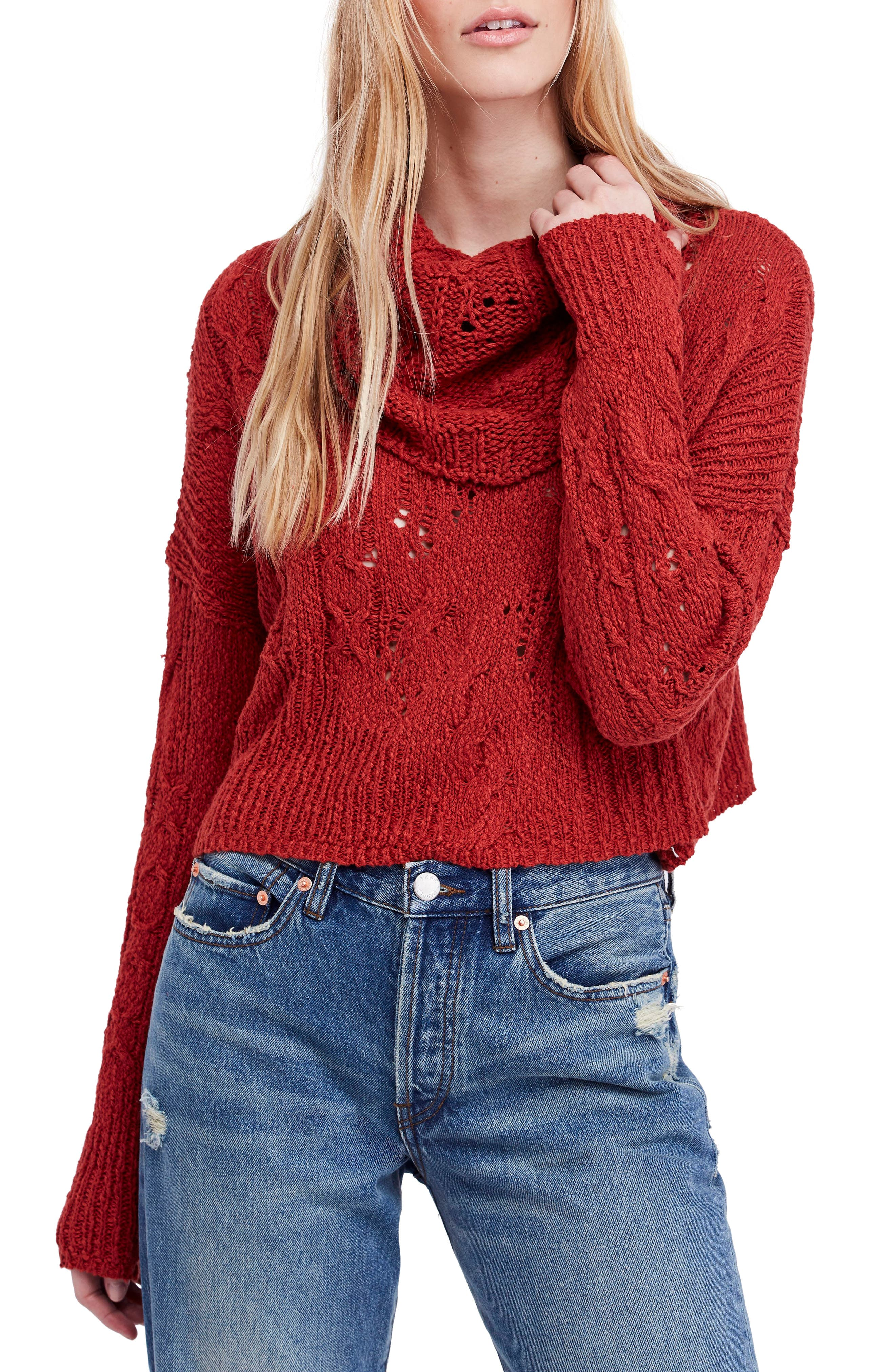 Shades Of Dawn Crop Sweater, Red