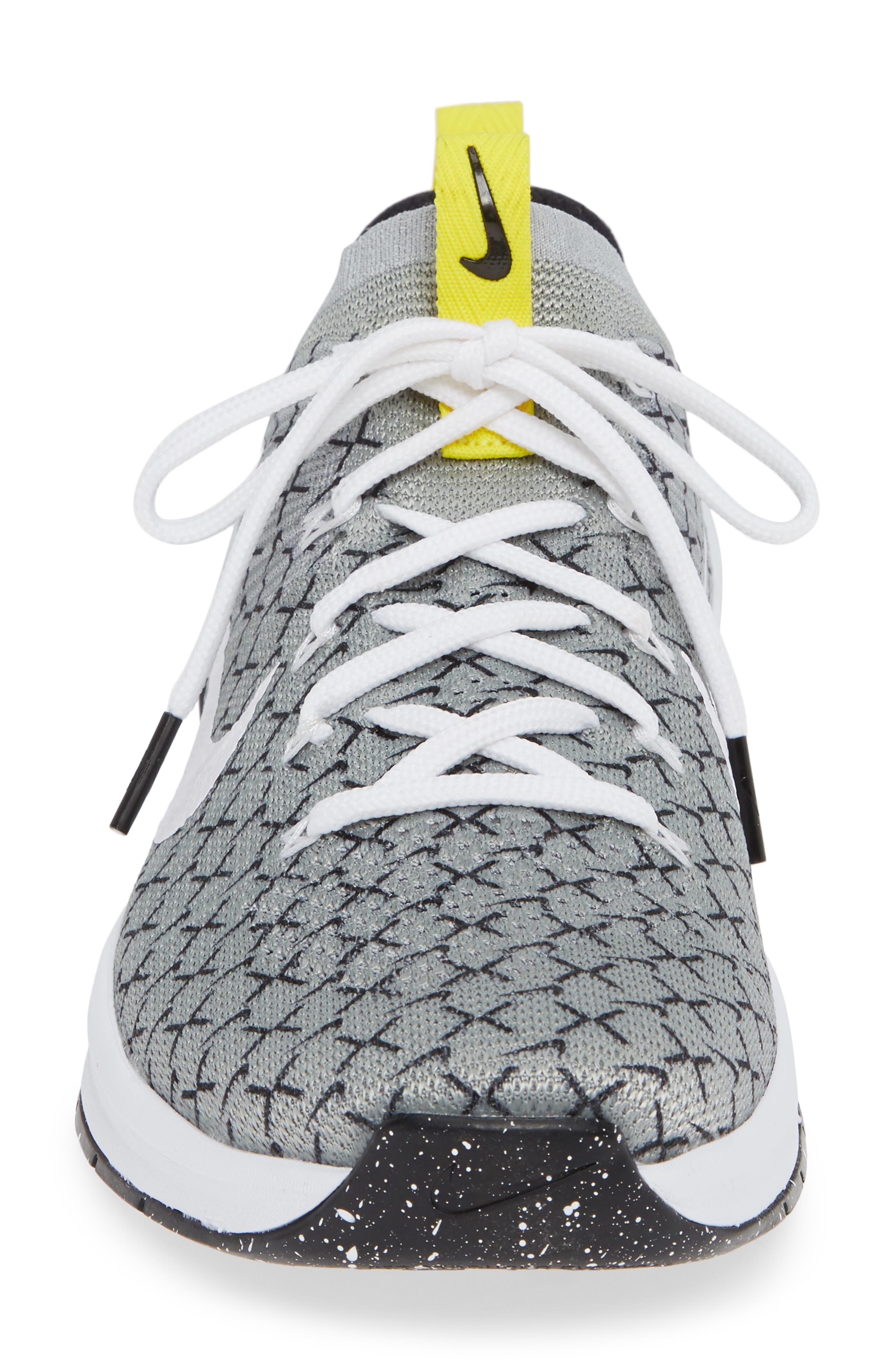Metcon DSX Flyknit 2 Training Shoe,                             Alternate thumbnail 4, color,                             Black/ White/ Yellow