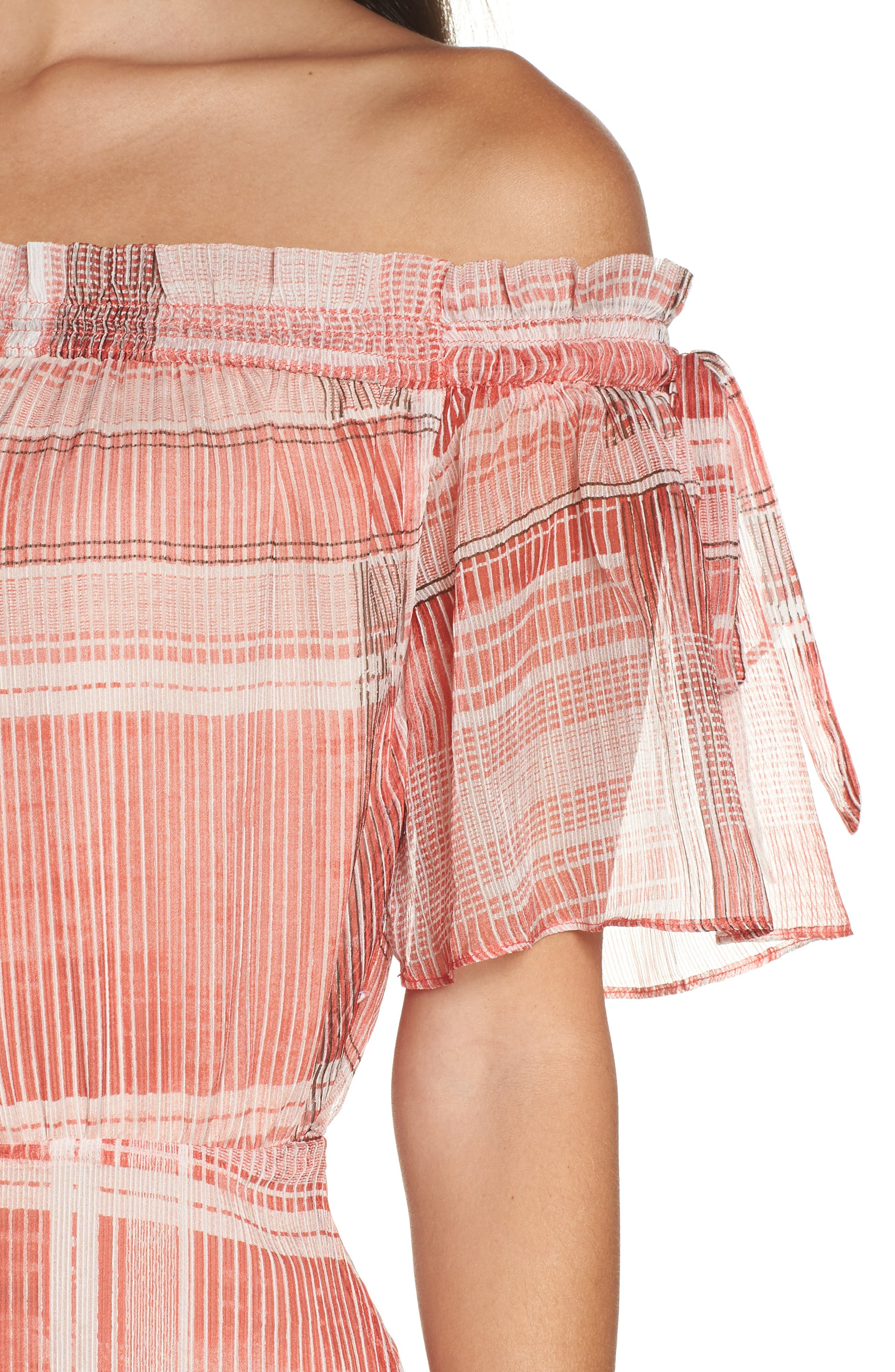 Plaid Off the Shoulder Maxi Dress,                             Alternate thumbnail 4, color,                             Red/ White
