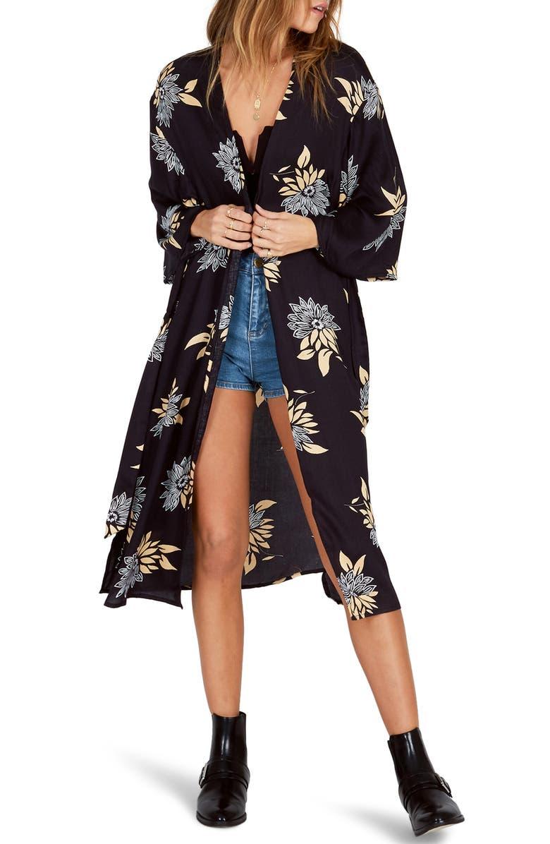 Lets Unwind Floral Print Kimono