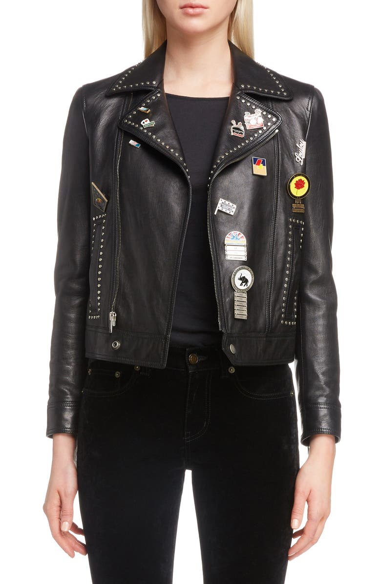 Logo Pin Lambskin Leather Jacket
