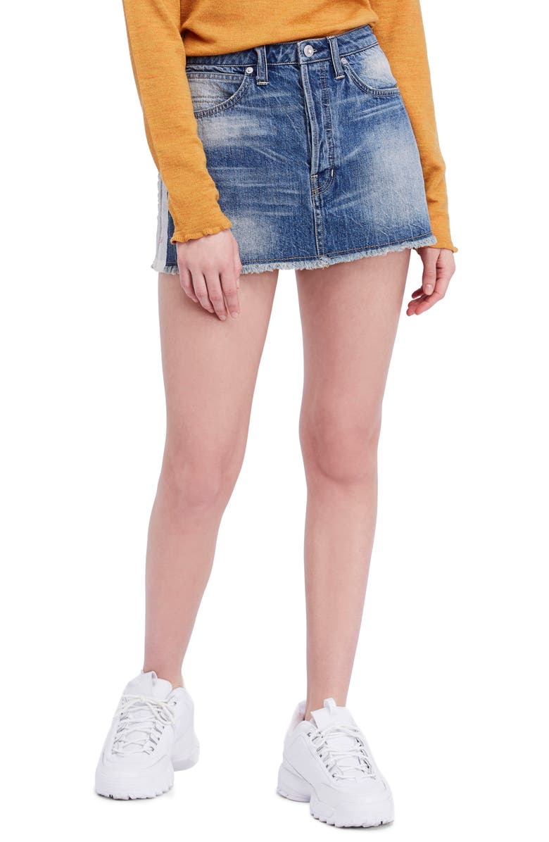 Rugged A-Line Denim Miniskirt
