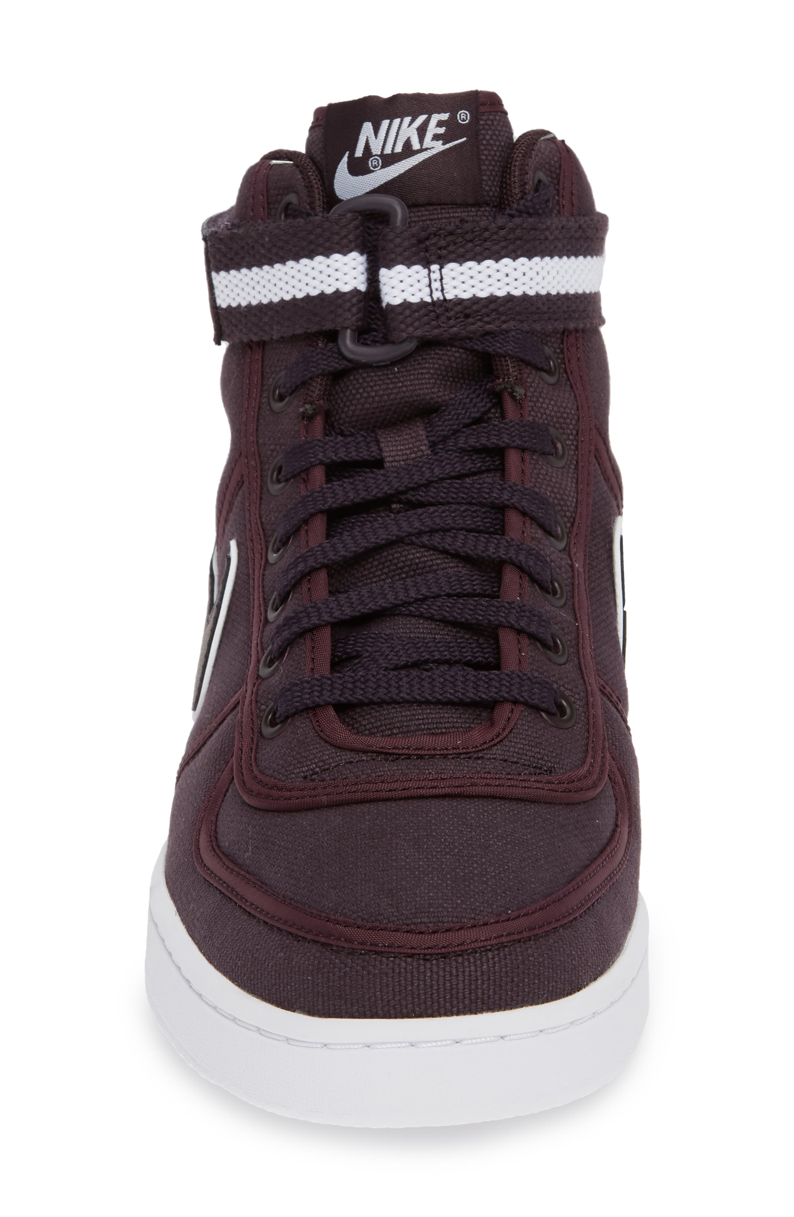 Vandal High Supreme High Top Sneaker,                             Alternate thumbnail 5, color,                             Burgundy Ash/ White