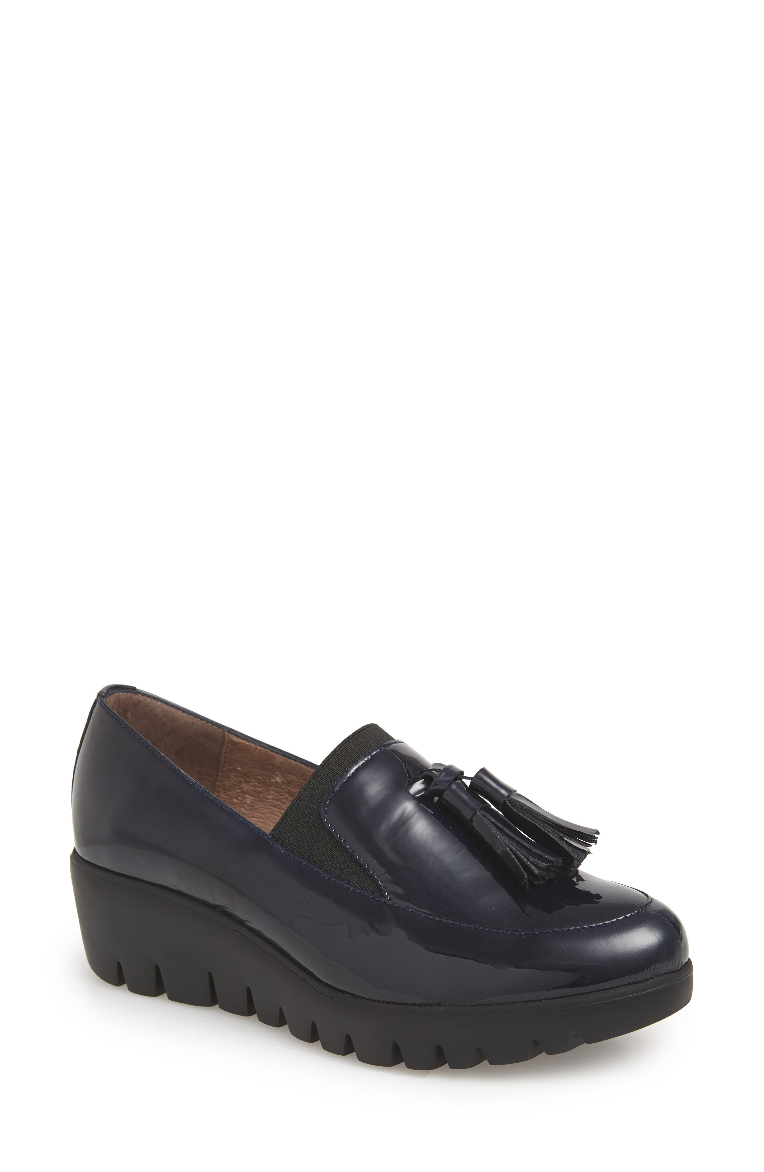 Talla Loafer Wedge,                             Main thumbnail 1, color,                             Navy Patent Leather